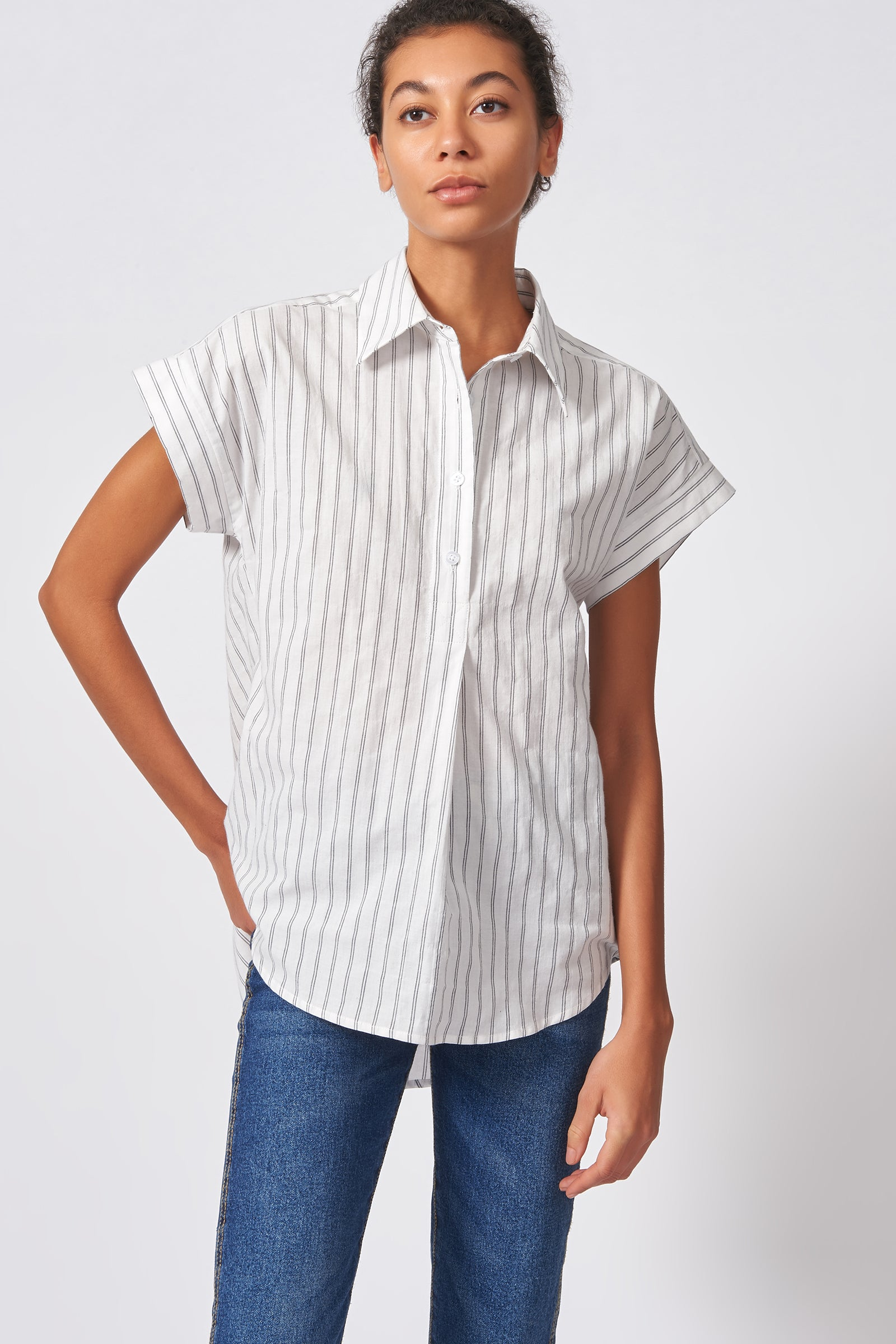 Kal Rieman Shirred Back Collared Top in Black Stripe on Model Front View