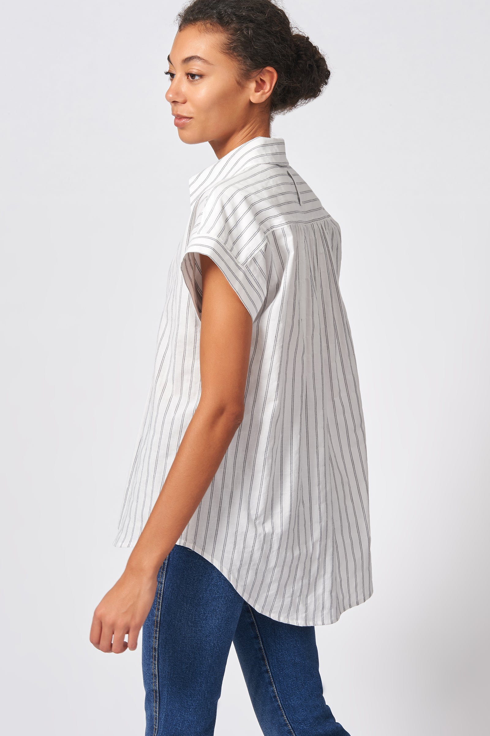 Kal Rieman Shirred Back Collared Top in Black Stripe on Model Side View