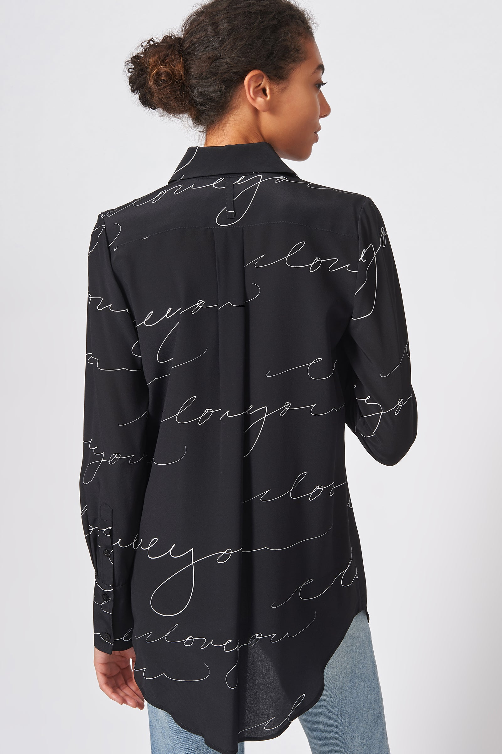 Kal Rieman Shirt Tail Tunic in Black I Love You Print on Model Side View