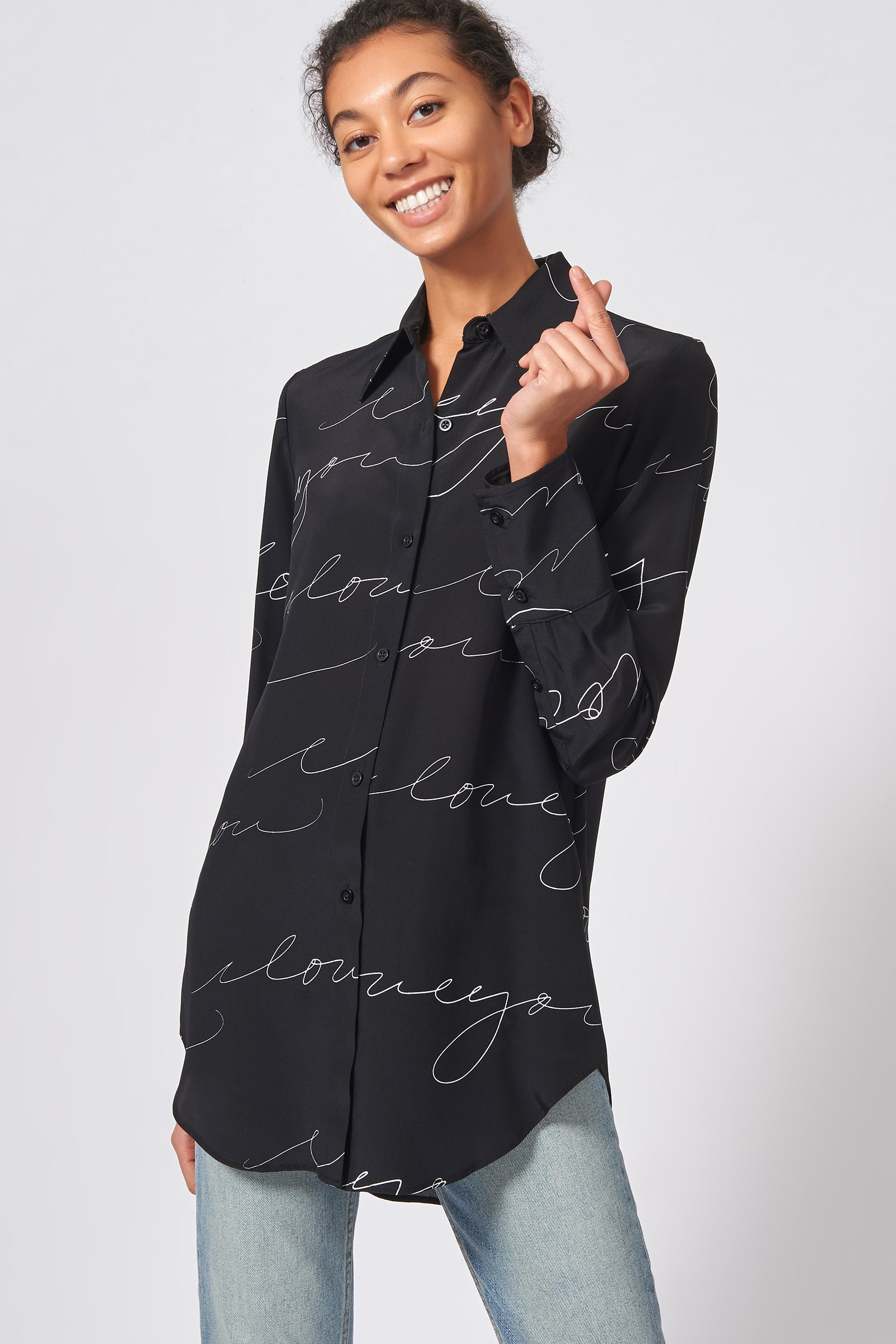 Kal Rieman Shirt Tail Tunic in Black I Love You Print on Model Front View