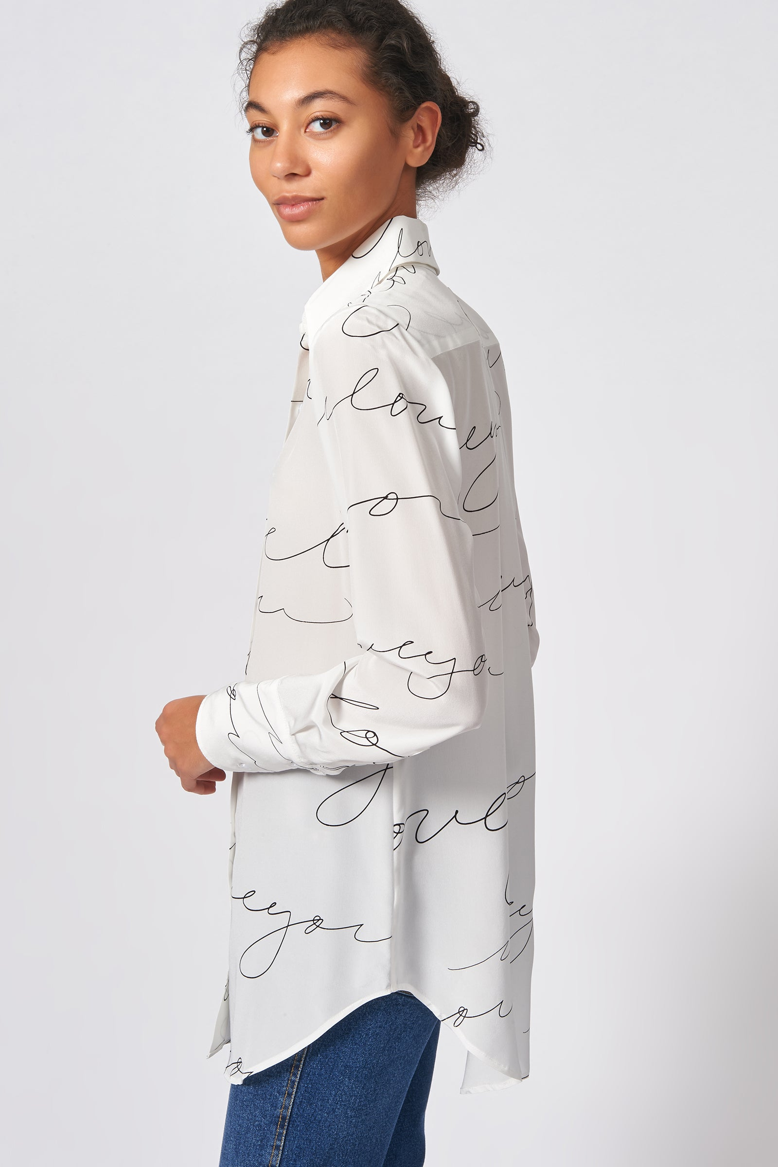 Kal Rieman Shirt Tail Tunic in Ivory I Love You Print on Model Side View