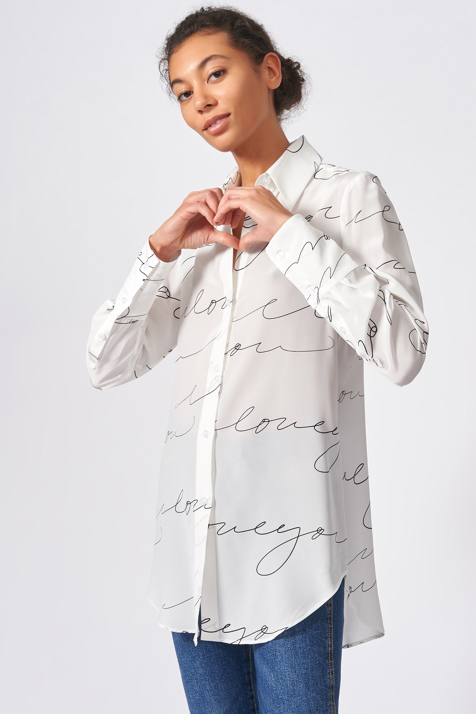 Kal Rieman Shirt Tail Tunic in Ivory I Love You Print on Model Front View