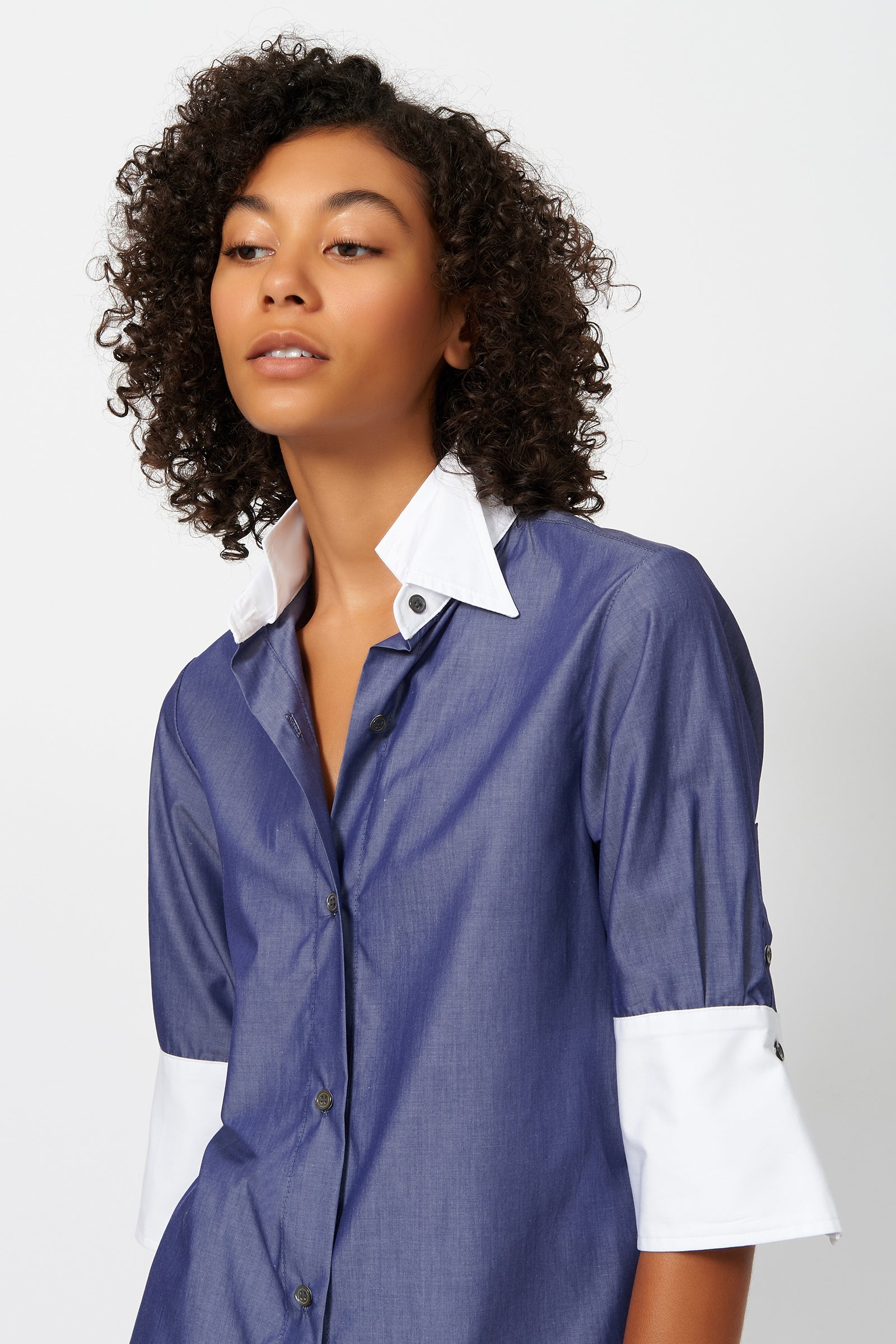 Kal Rieman Short Sleeve Double Collar Shirt in Indigo on Model Front Detail View