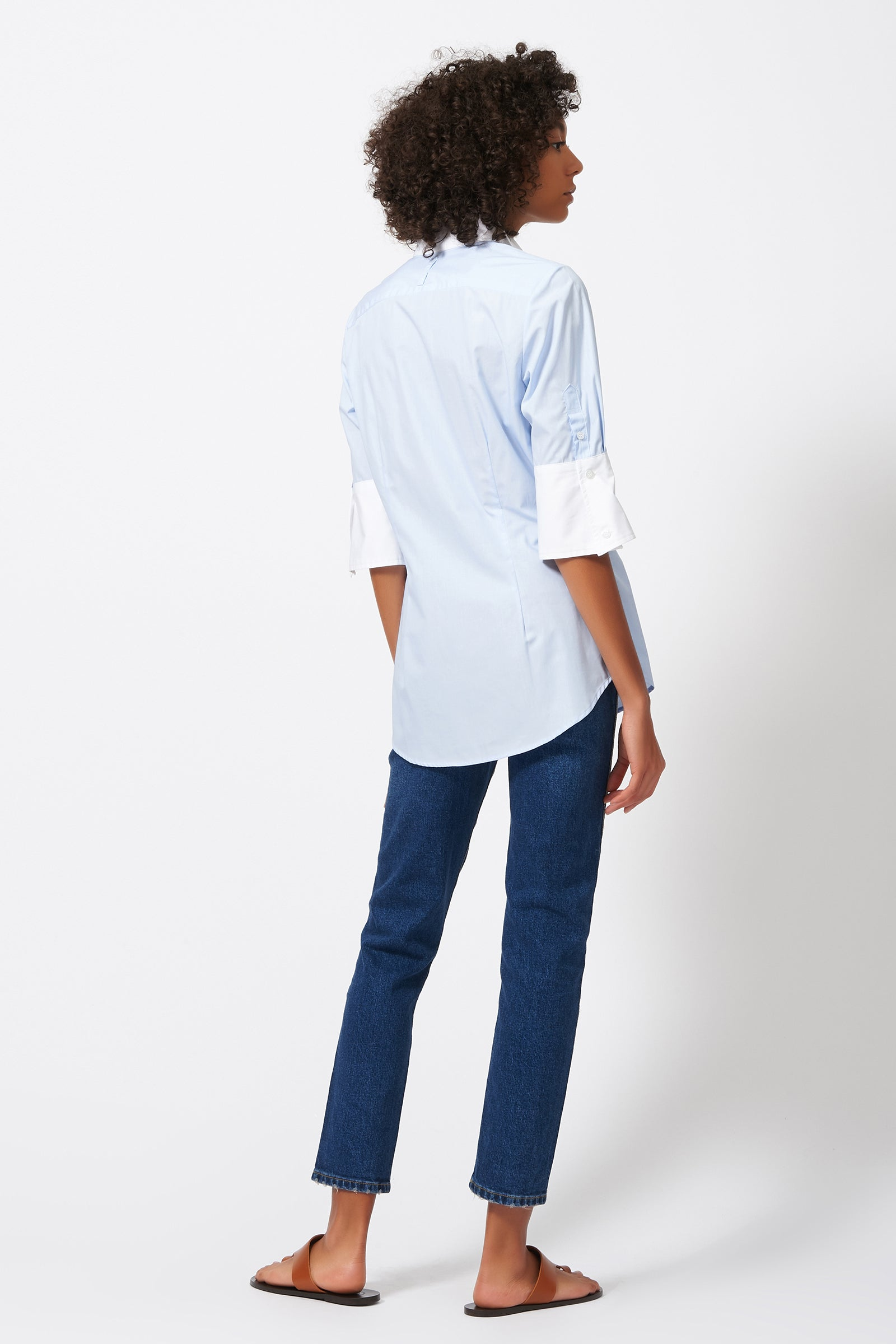 Kal Rieman Double Collar Shirt in Oxford and White Cotton Poplin on Model Front View
