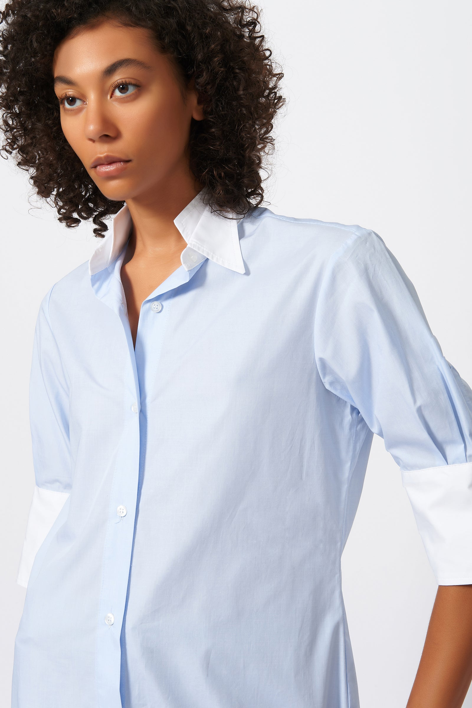 Kal Rieman Double Collar Shirt in Oxford and White Cotton Poplin on Model Front Detail View