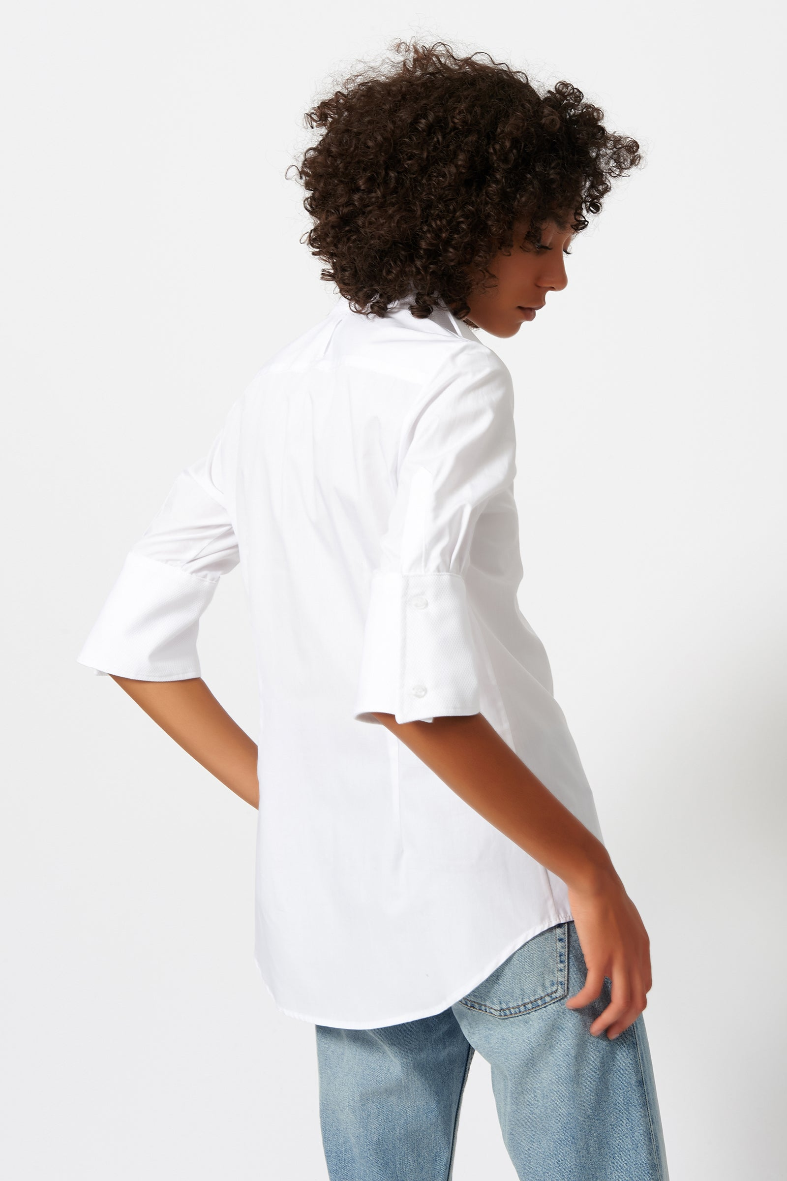 Kal Rieman Double Collar Shirt in White Poplin with Pique on Model Back View