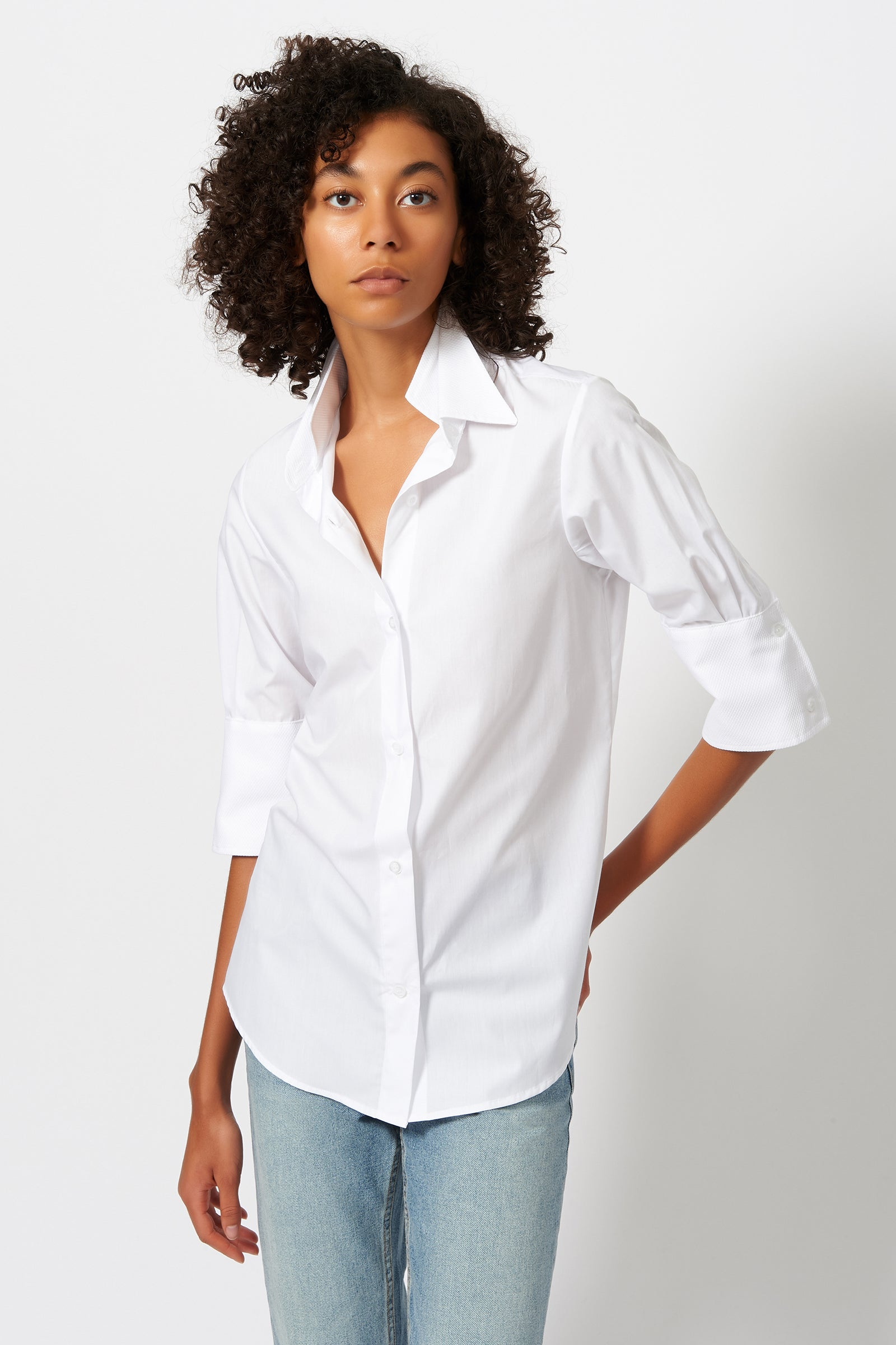 Kal Rieman Double Collar Shirt in White Poplin with Pique on Model Front View