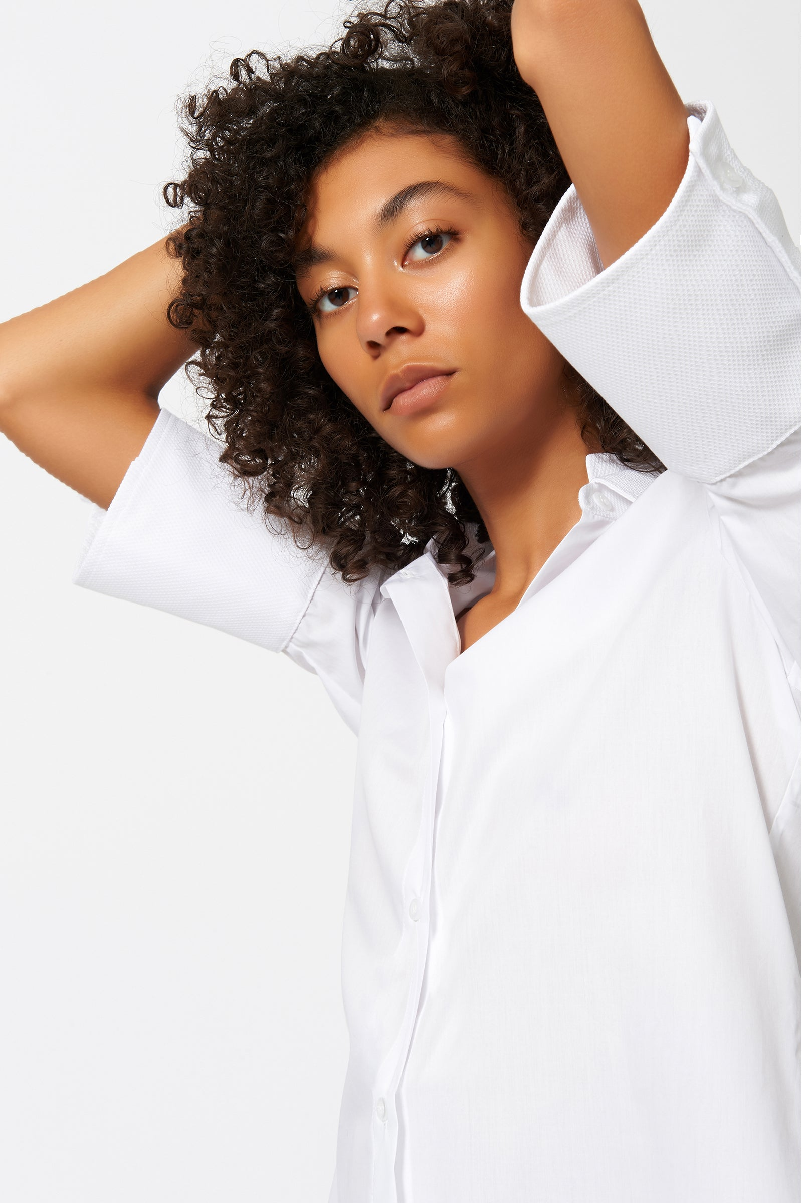 Kal Rieman Double Collar Shirt in White Poplin with Pique on Model Front Detail View