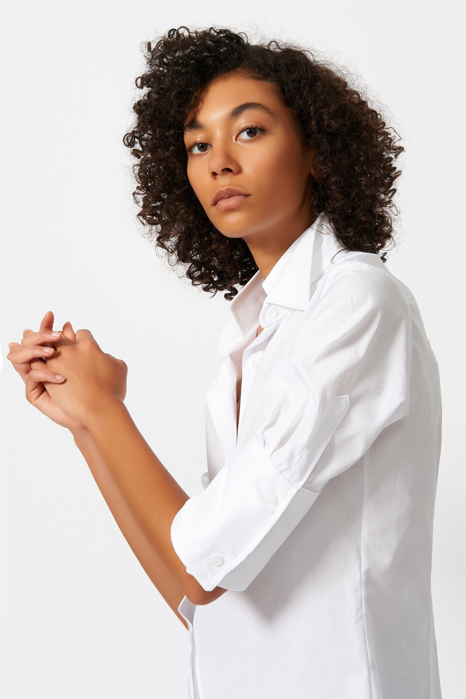 Kal Rieman Double Collar Shirt in White Poplin with Pique on Model Side Detail View