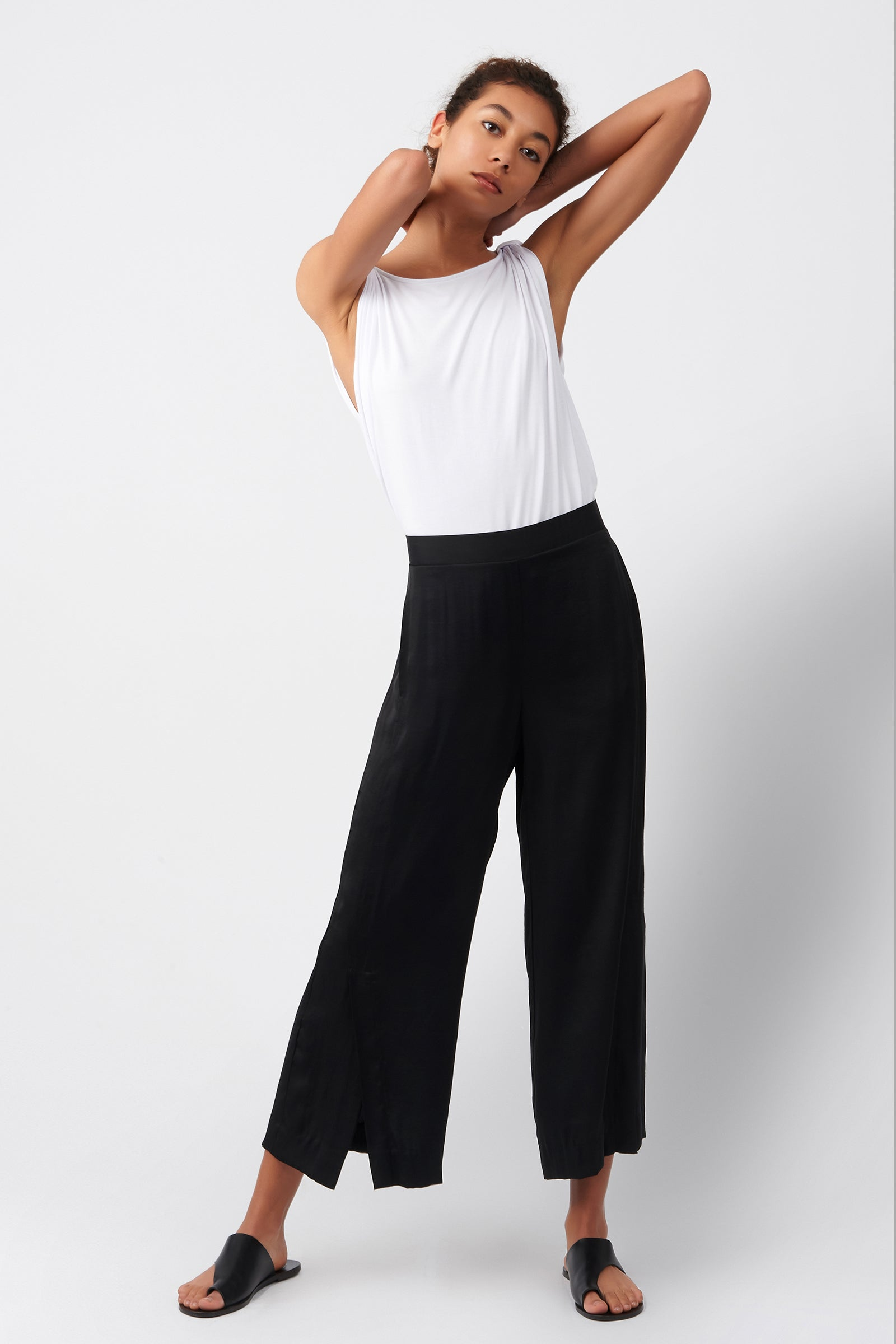 Kal Rieman Satin Side Kick Pant in Black on Model Full Front View
