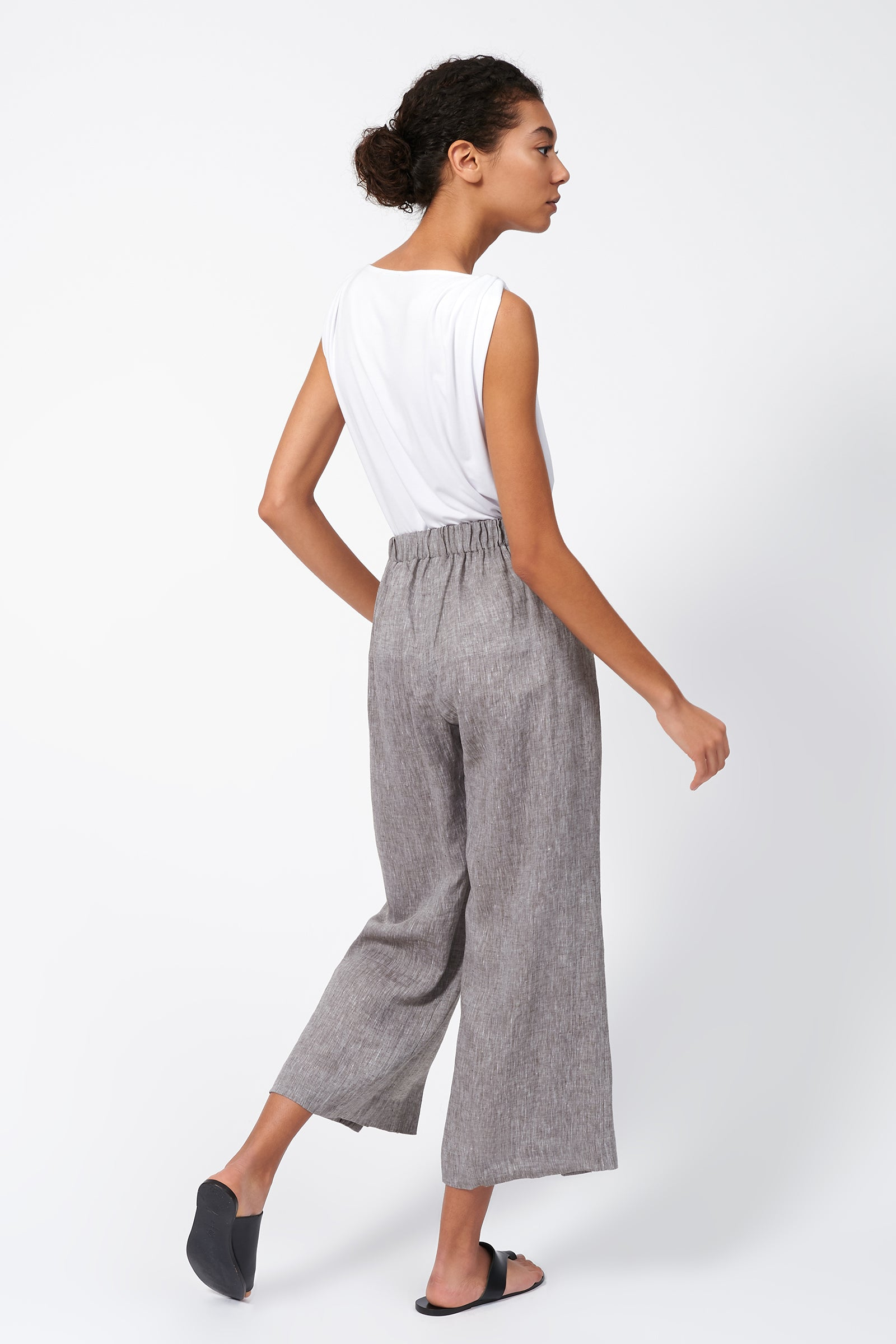 Kal Rieman Linen Side Kick Pant in Brown on Model Full Back View