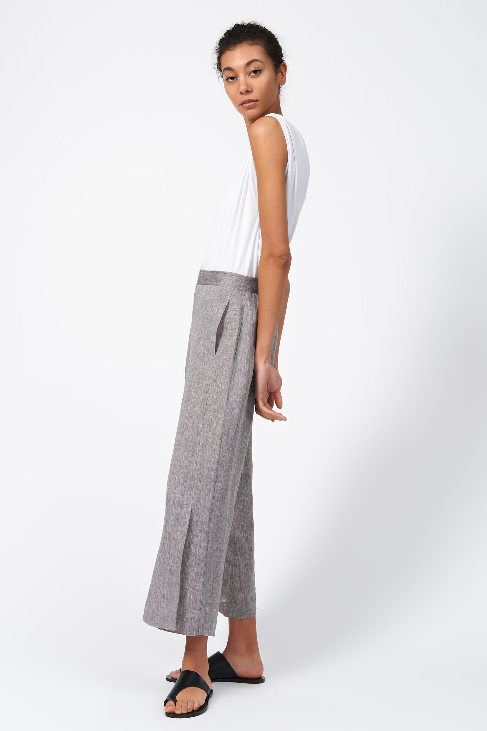 Kal Rieman Linen Side Kick Pant in Brown on Model Full Side View
