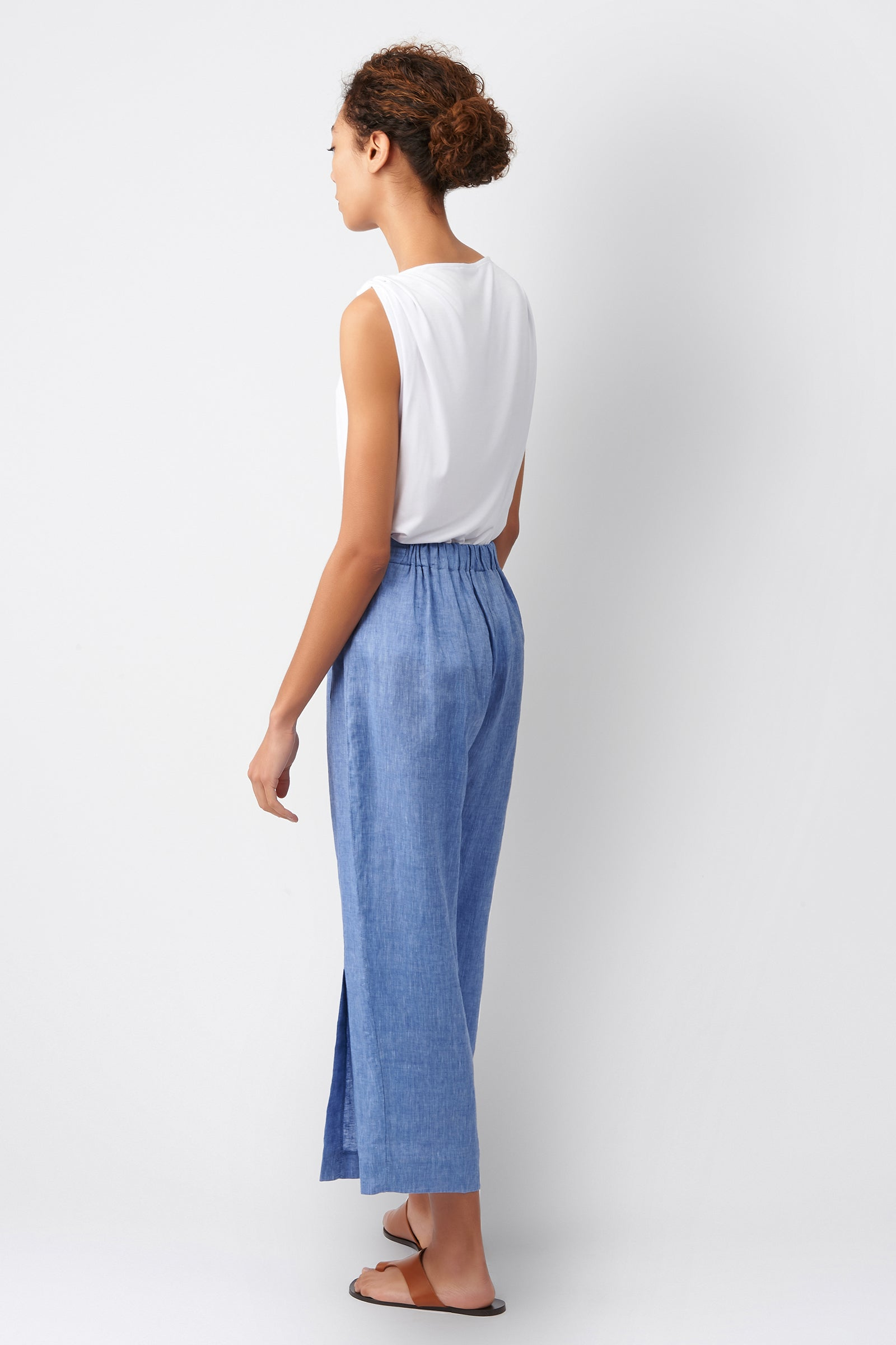 Kal Rieman Linen Side Kick Pant in Blue on Model Full Front View