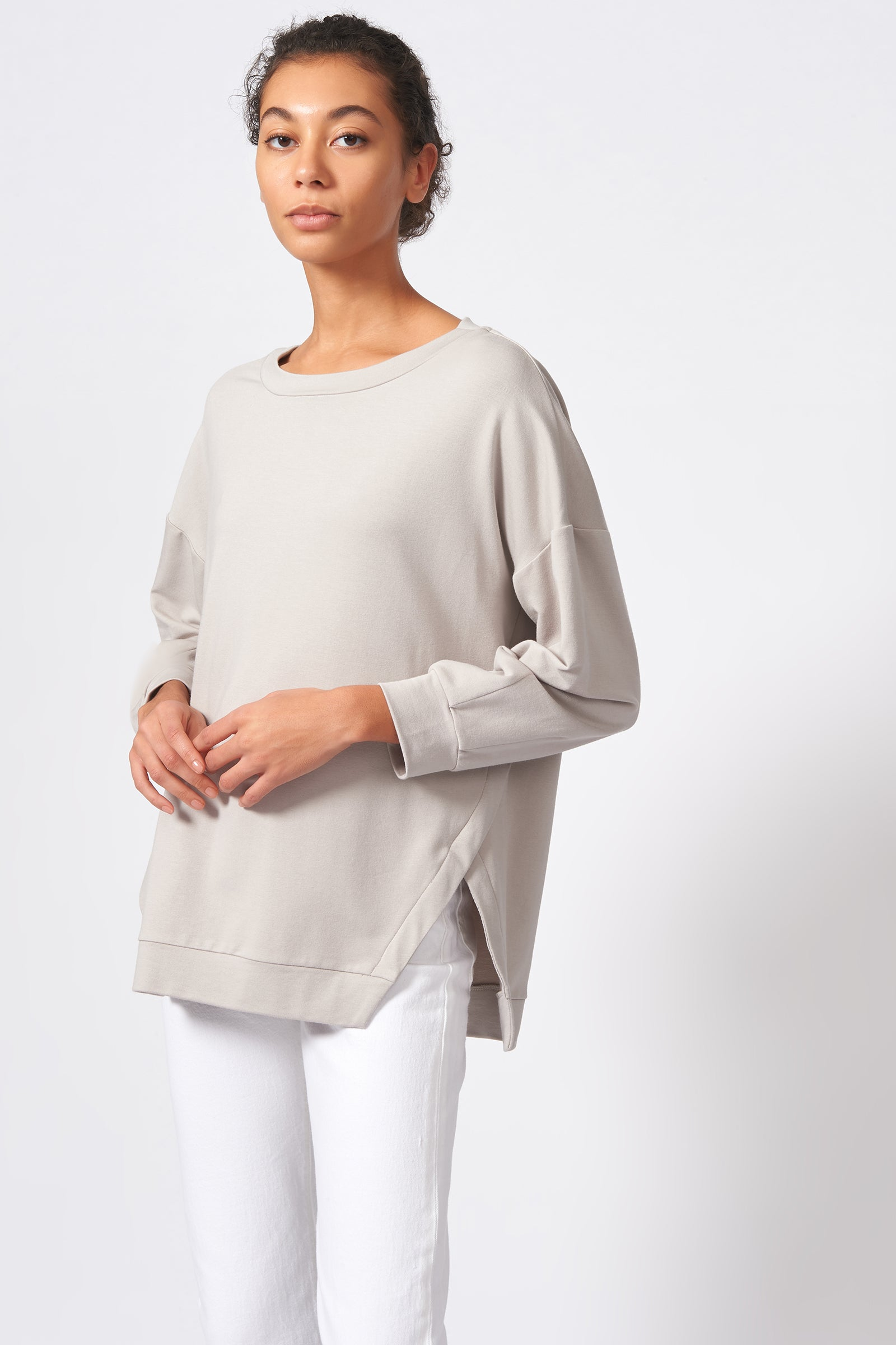 Kal Rieman Side Slit Sweatshirt in Khaki on Model Front Side View