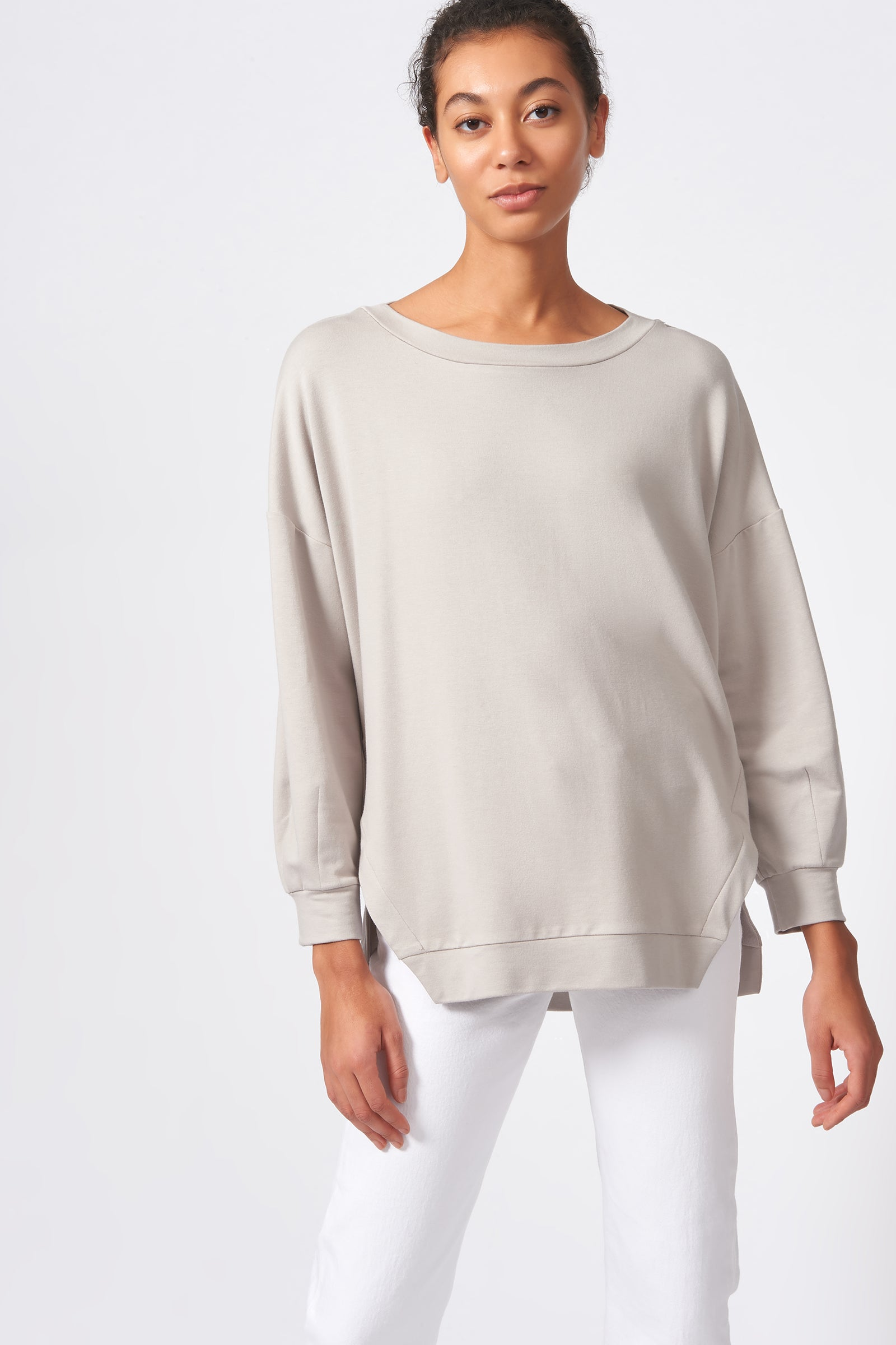 Kal Rieman Side Slit Sweatshirt in Khaki on Model Front View