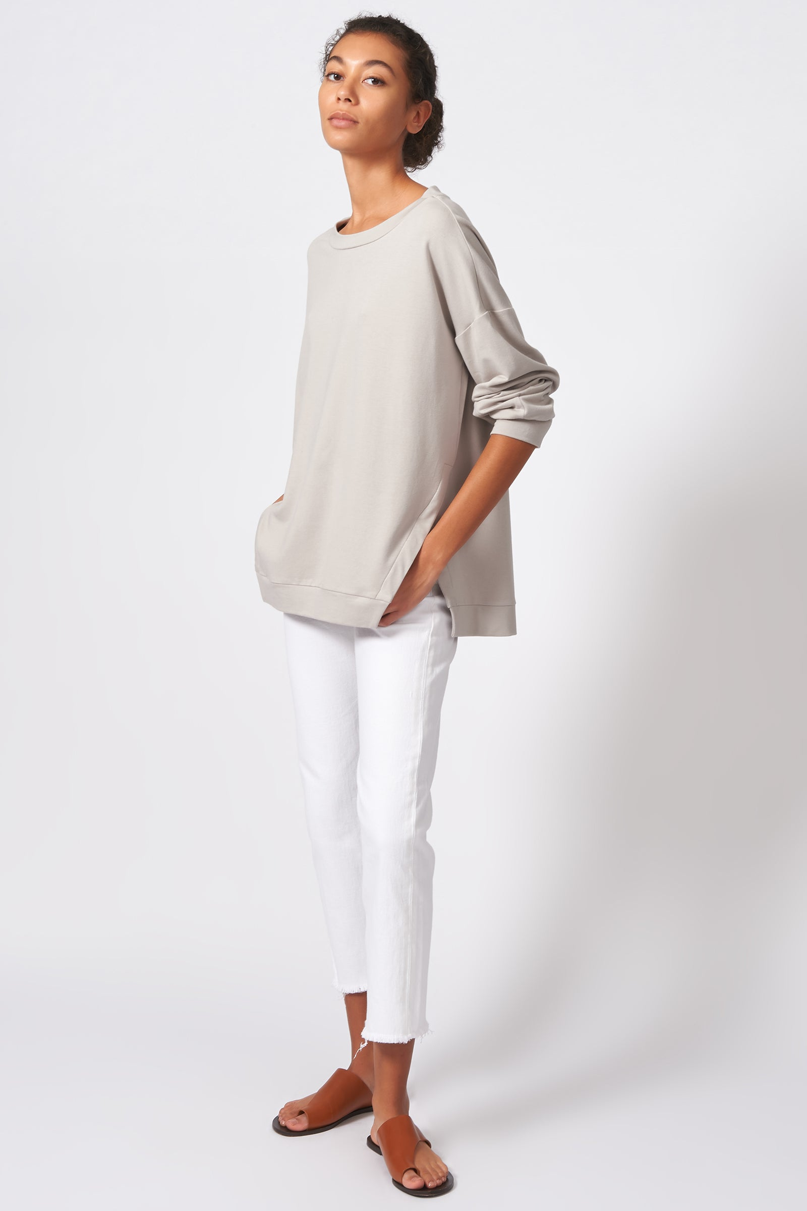 Kal Rieman Side Slit Sweatshirt in Khaki on Model Full Side View