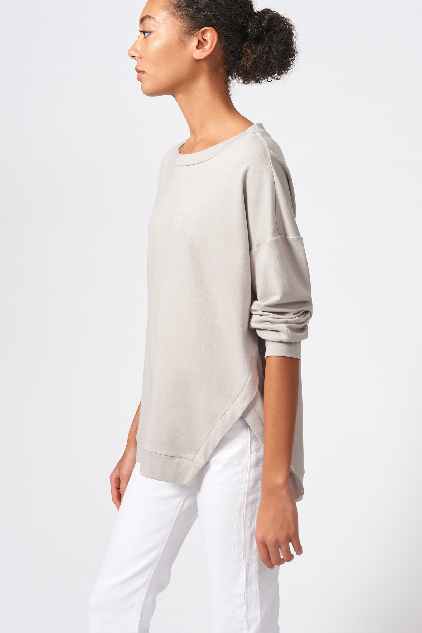 Kal Rieman Side Slit Sweatshirt in Khaki on Model Side View