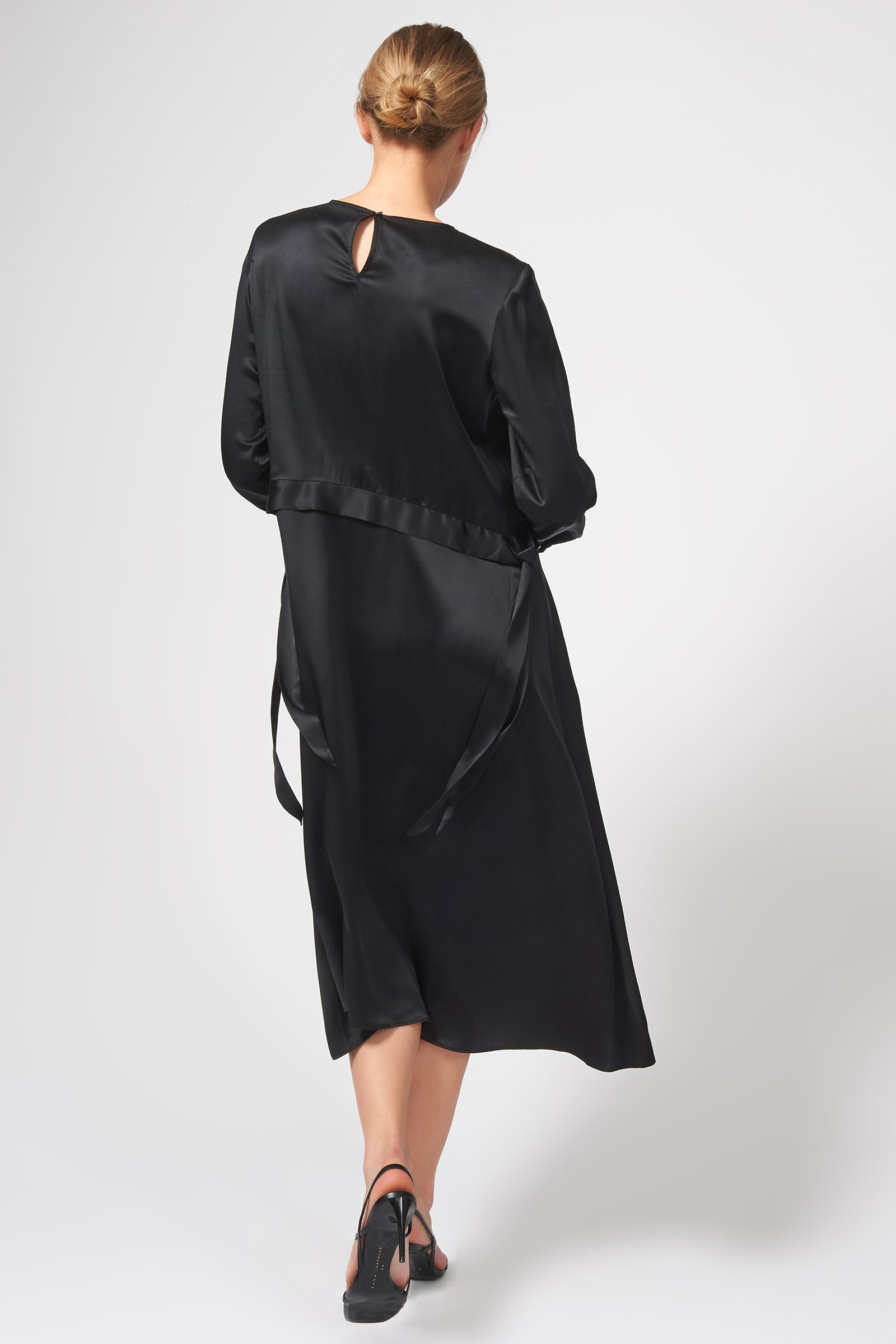 Kal Rieman Side Tie Midi Dress in Black on Model Back View