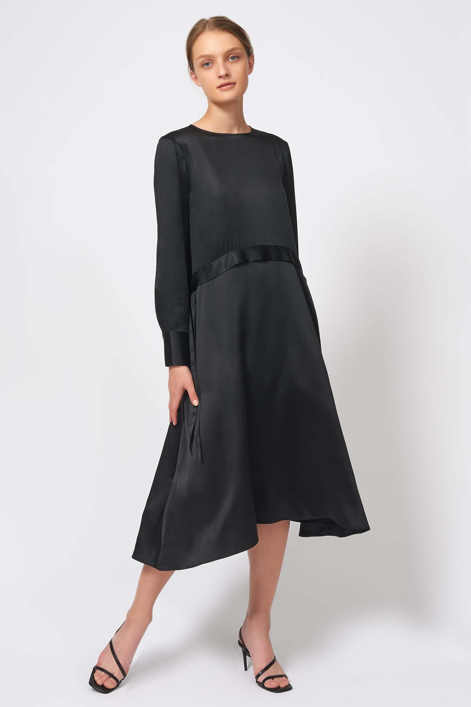 Kal Rieman Side Tie Midi Dress in Black on Model Front View