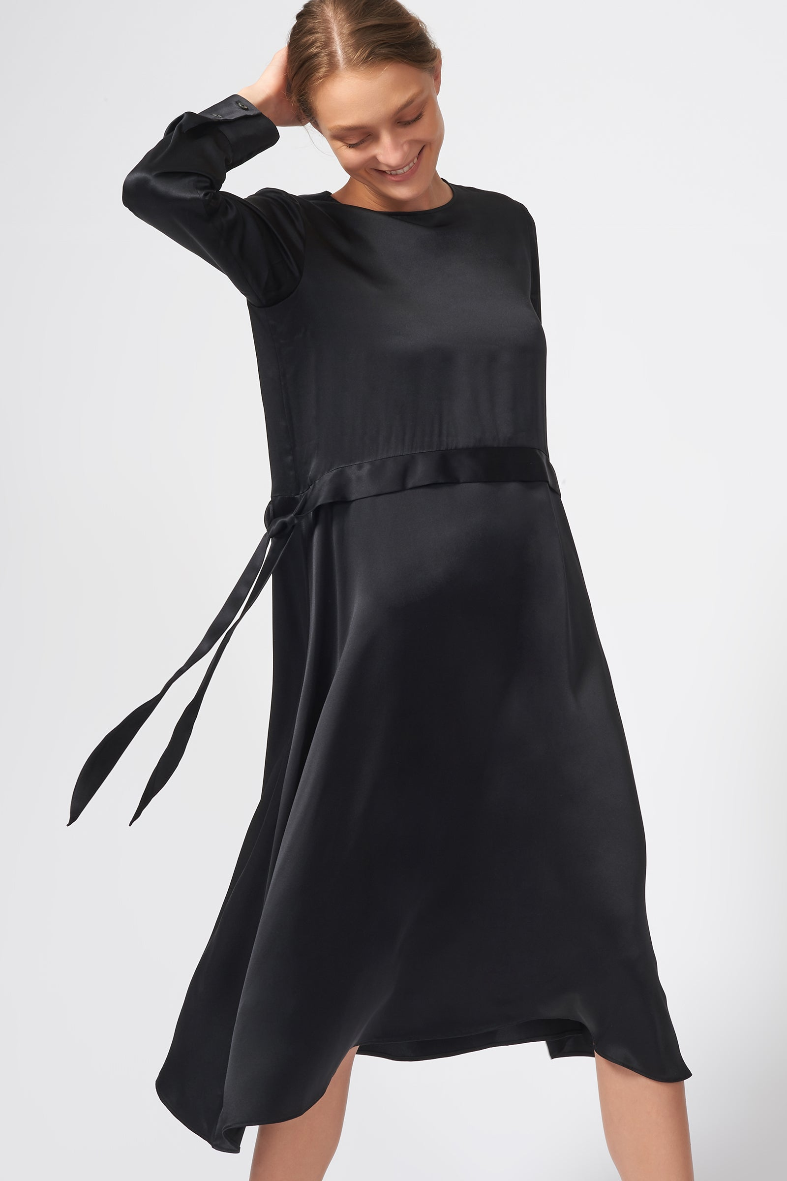 Kal Rieman Side Tie Midi Dress in Black on Model Front Detail View