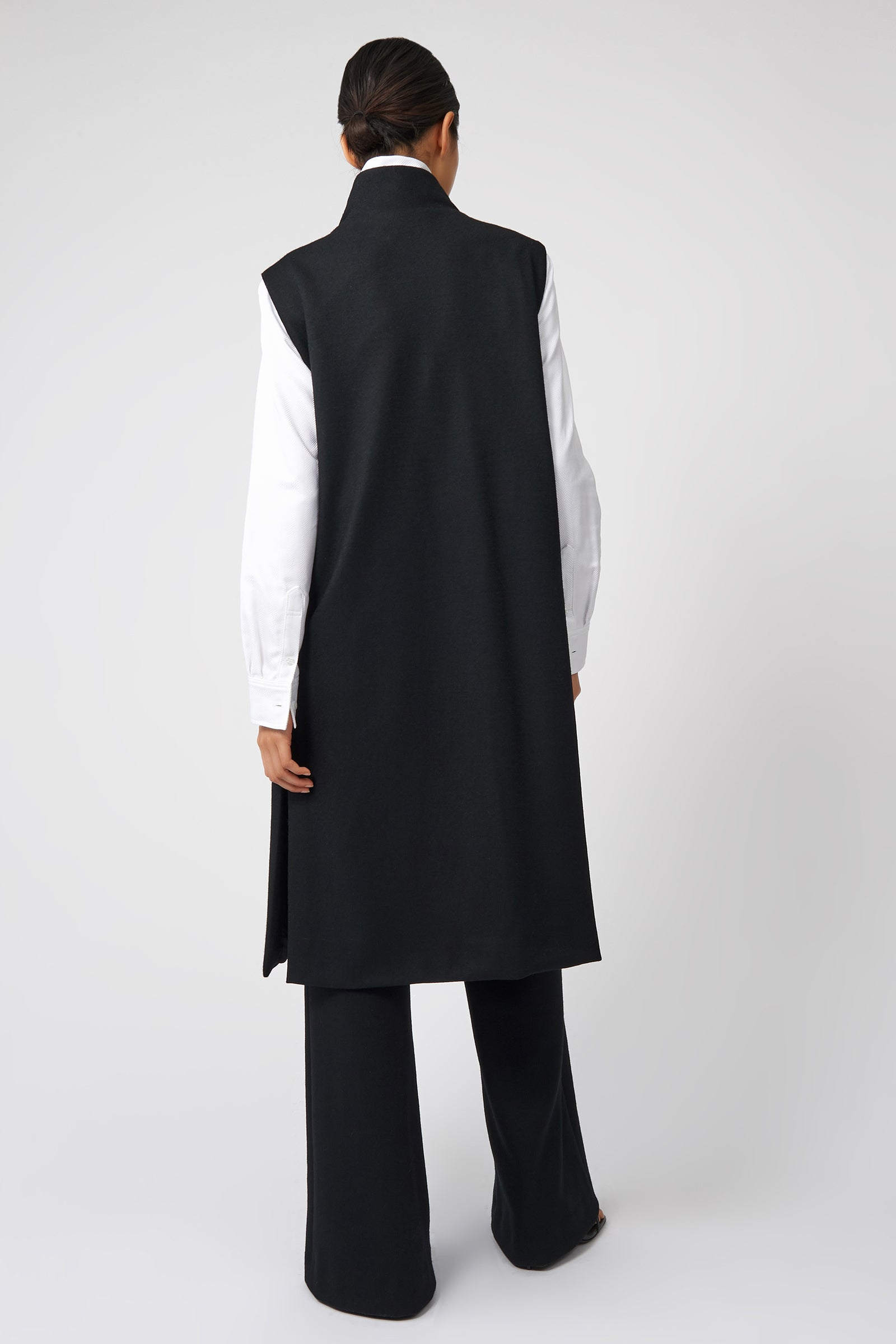Kal Rieman Side Zip Vest in Black on Model Front View