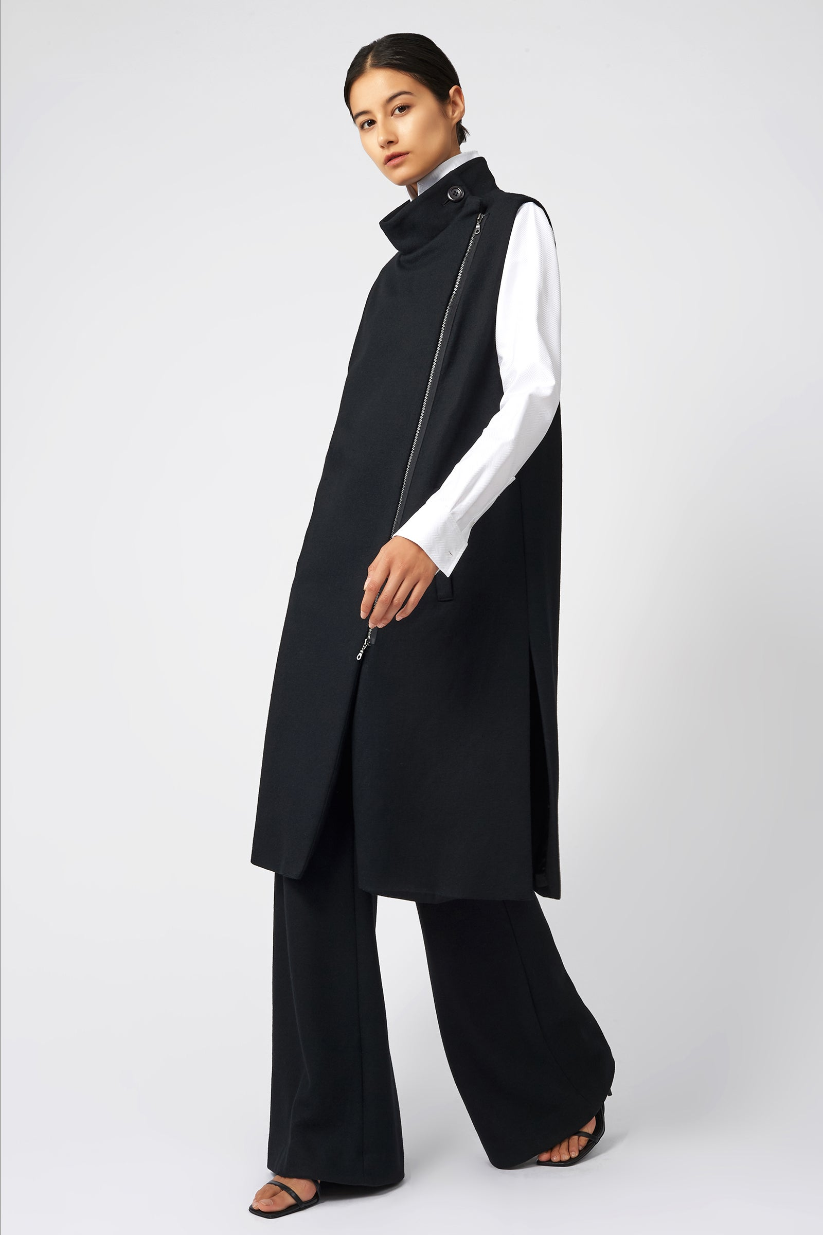 Kal Rieman Side Zip Vest in Black on Model Left Side View