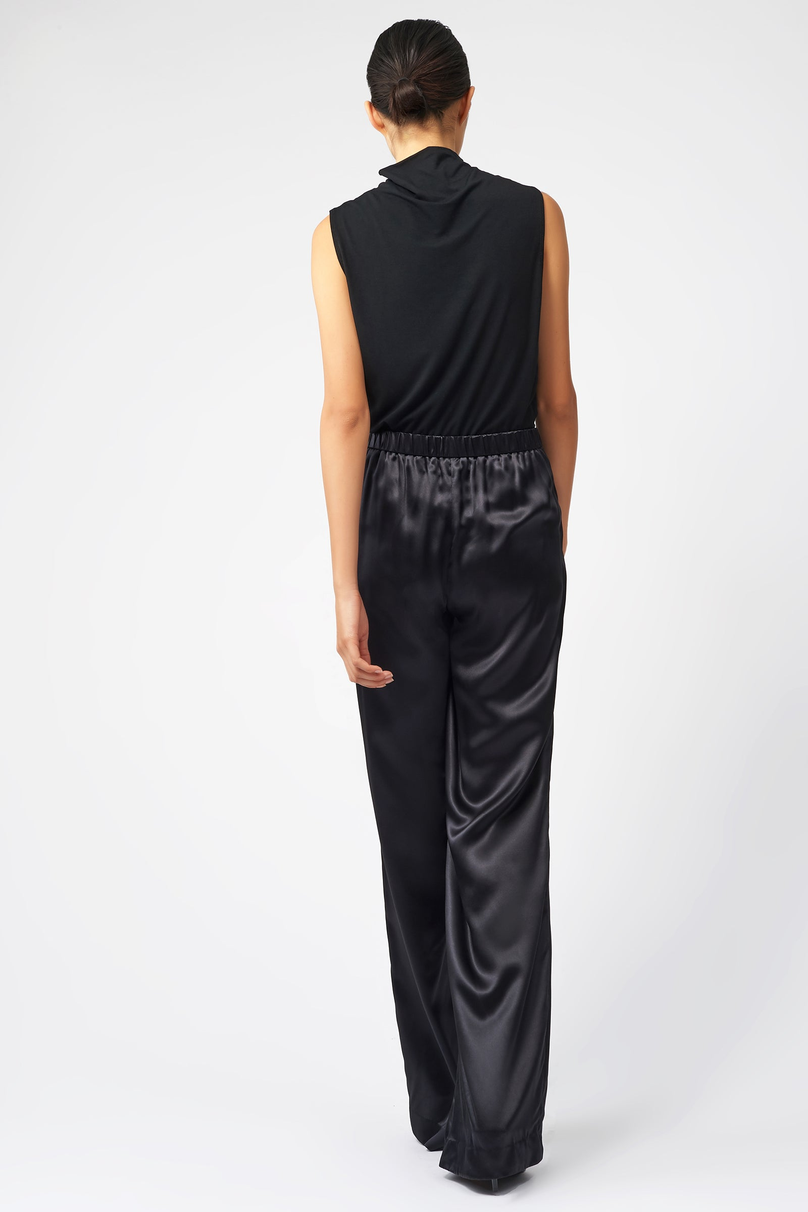 Kal Rieman Classic Silk Trouser in Black on Model Full Back View