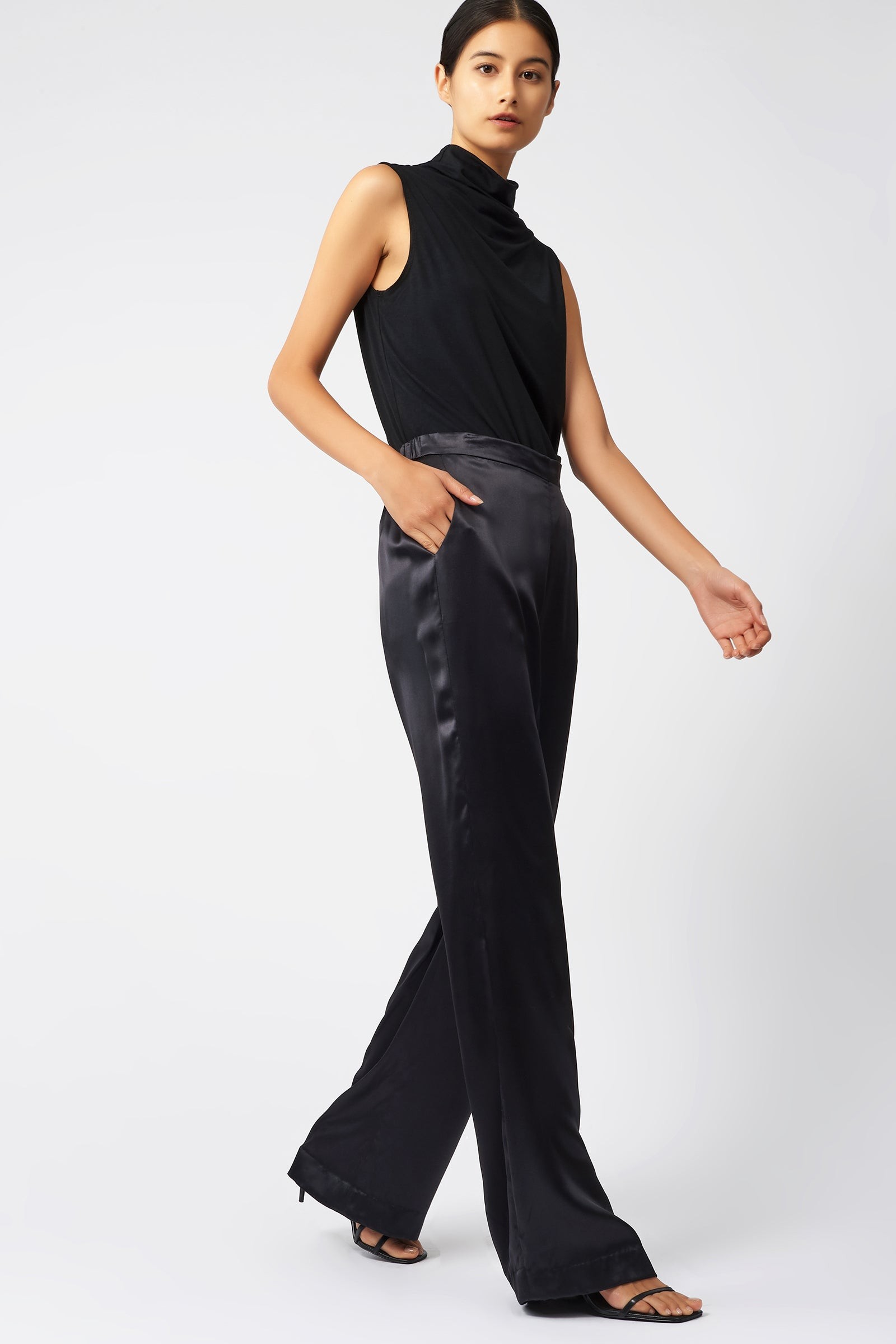 Kal Rieman Classic Silk Trouser in Black on Model Full Side View