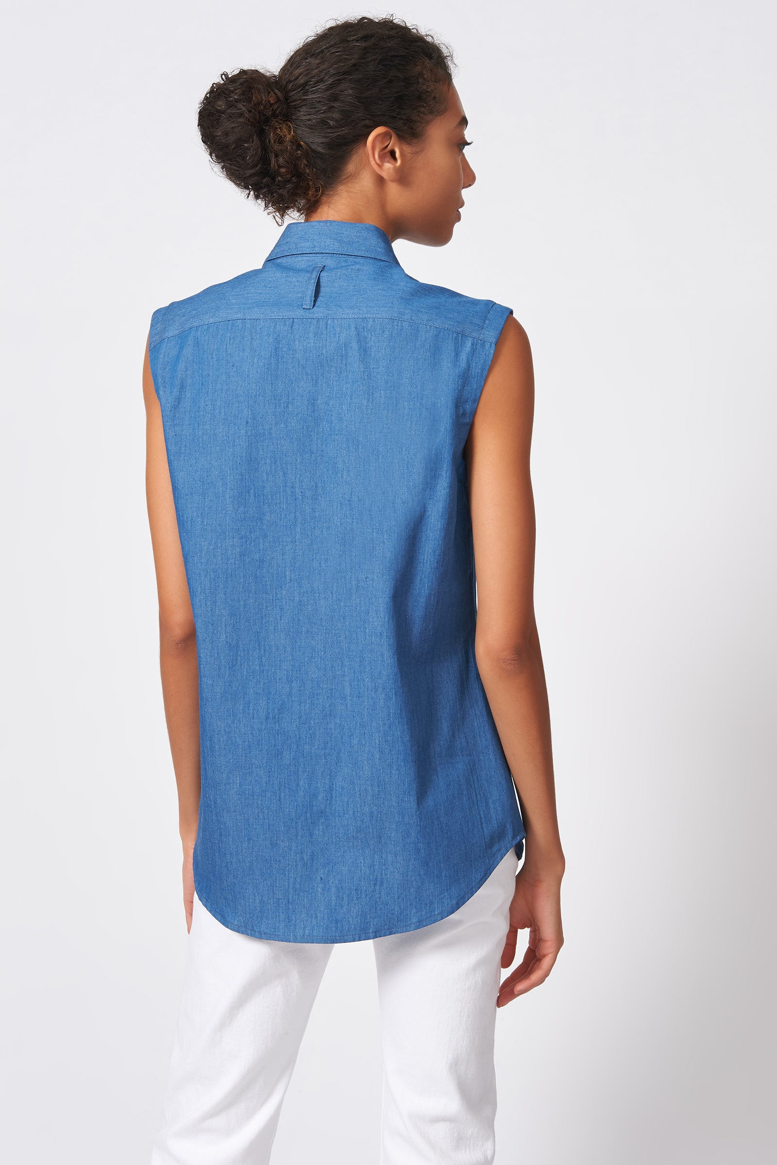 Kal Rieman Sleeveless Collared Shirt in Light Indigo on Model Full Front View