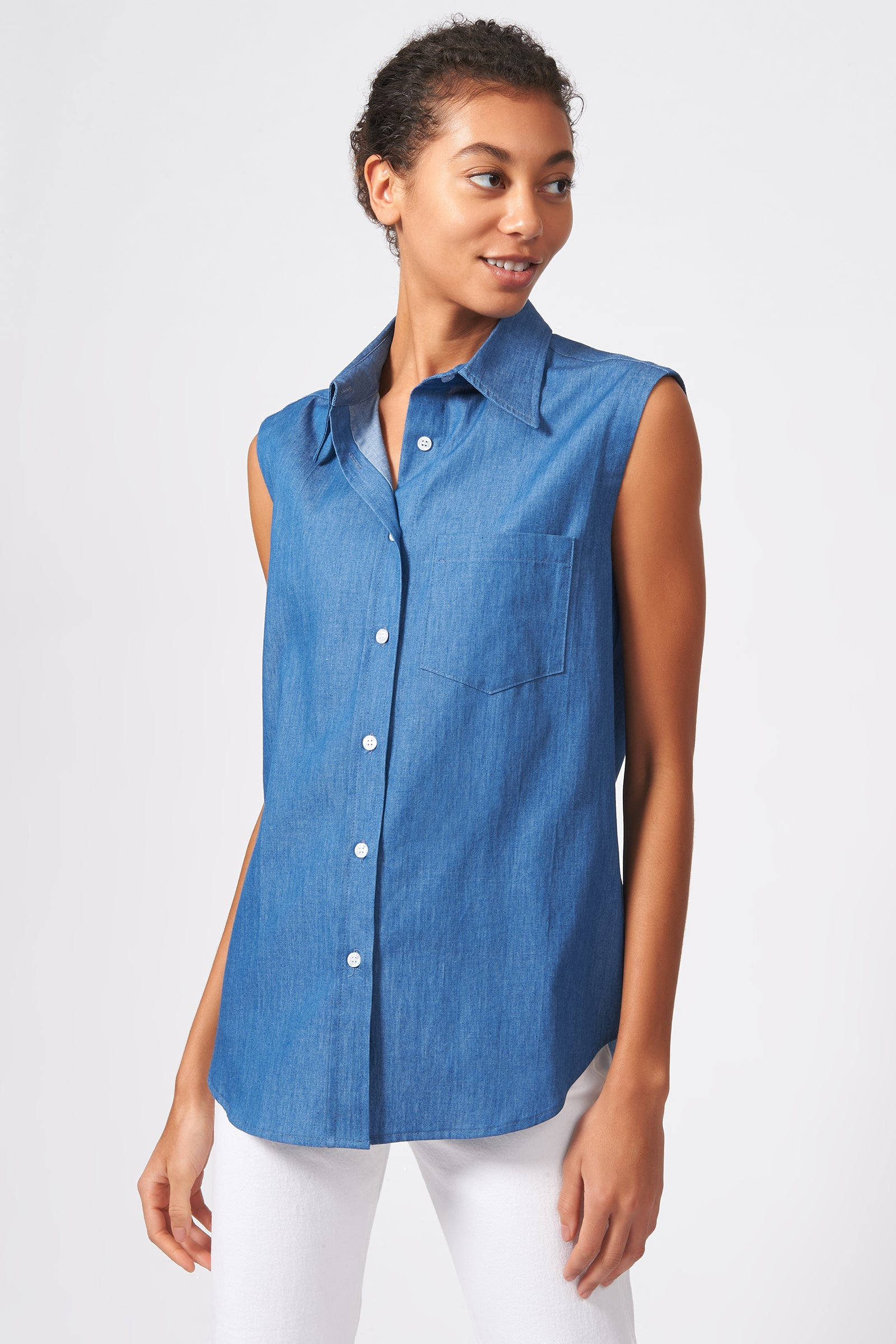 Kal Rieman Sleeveless Collared Shirt in Light Indigo on Model Front View
