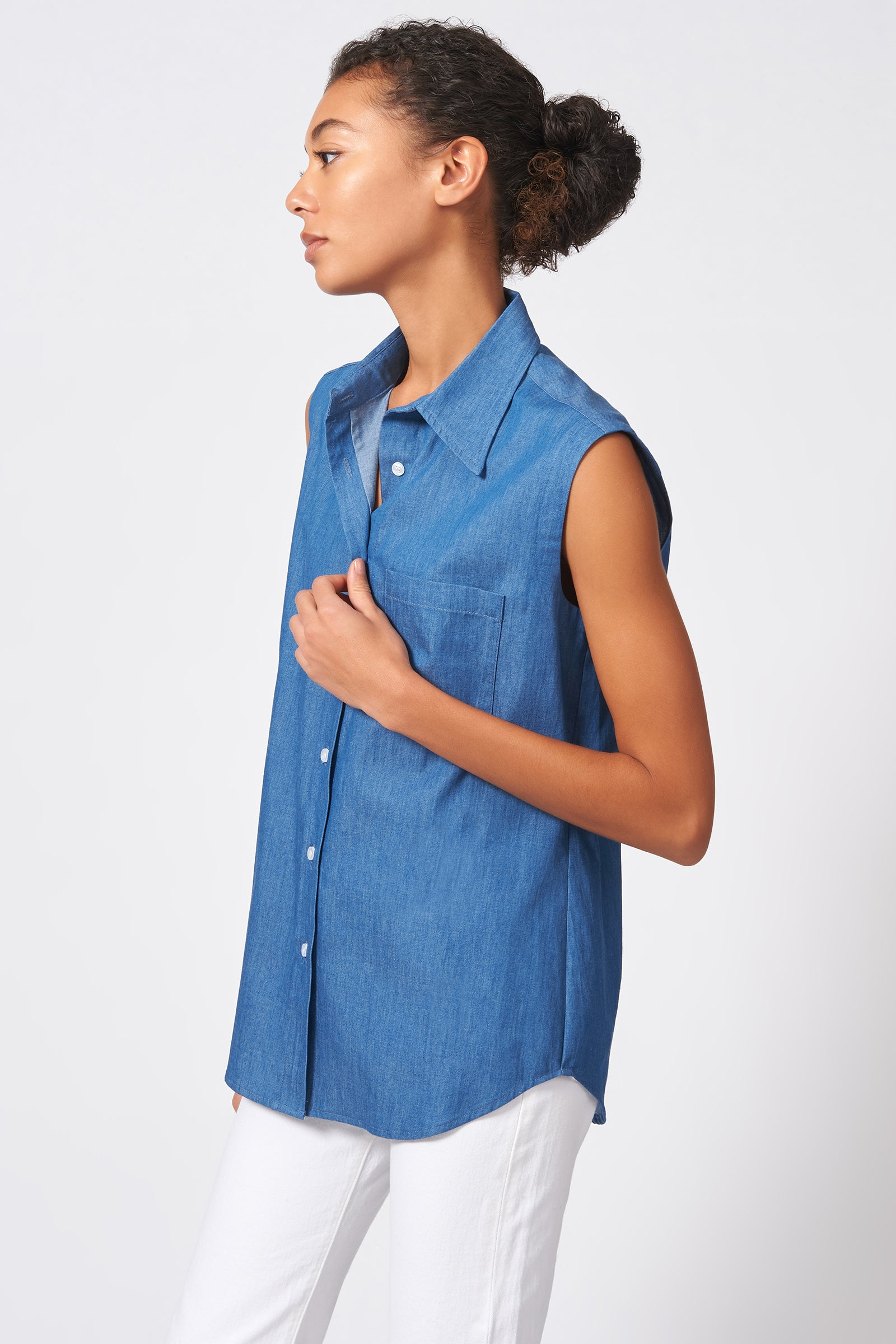 Kal Rieman Sleeveless Collared Shirt in Light Indigo on Model Side View