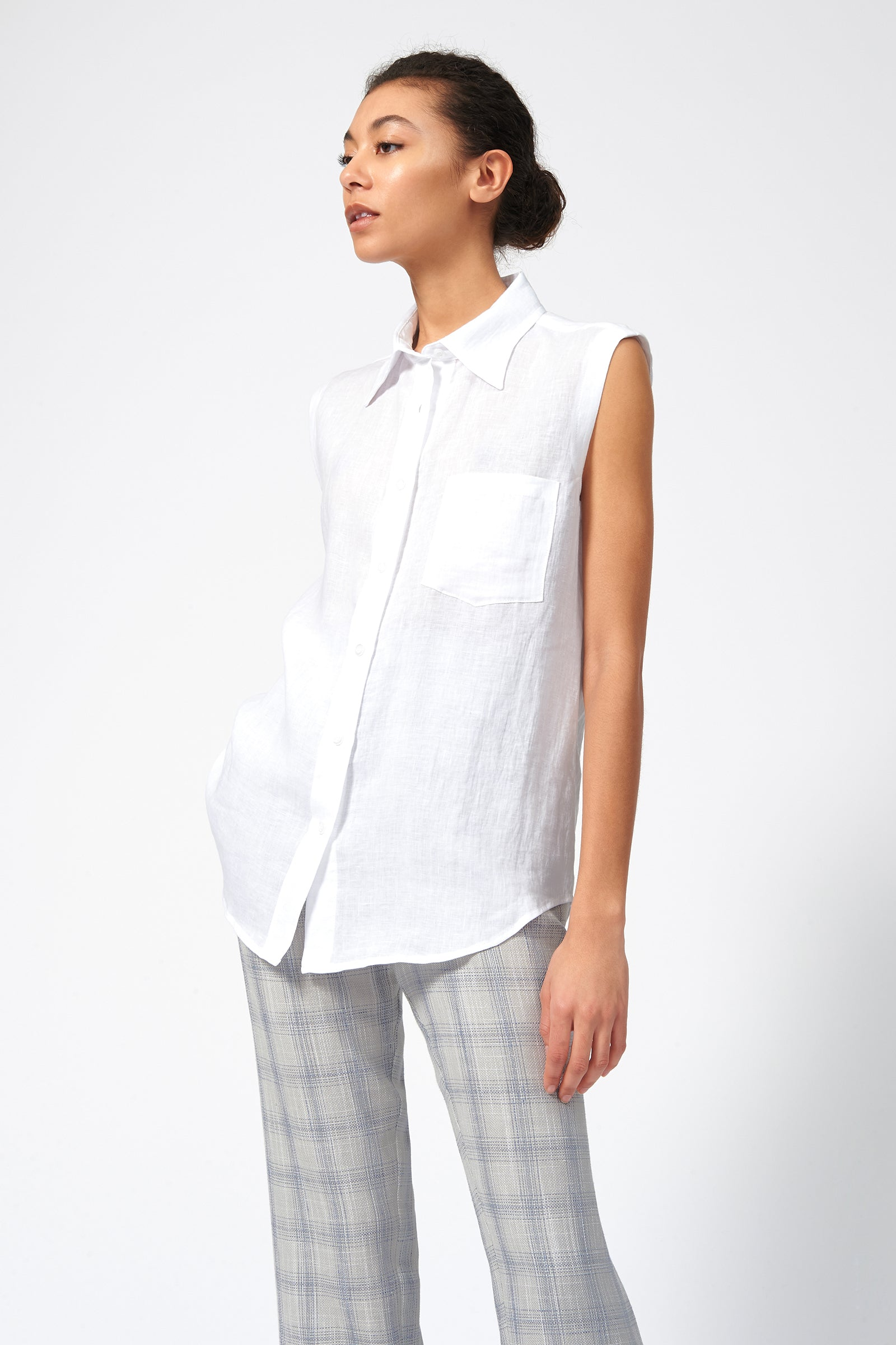 Kal Rieman Sleeveless Summer Shirt in White Linen on Model Front View
