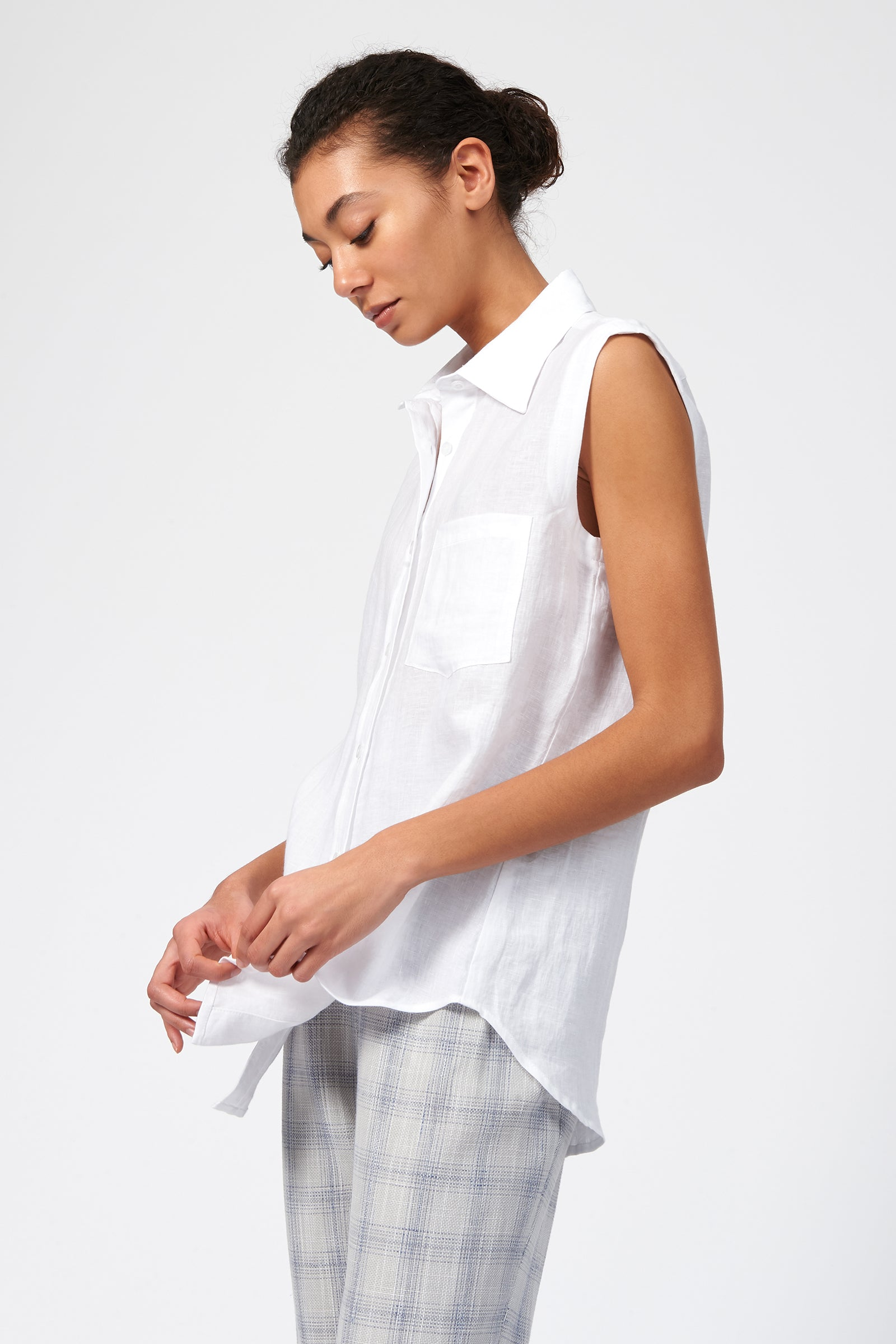 Kal Rieman Sleeveless Summer Shirt in White Linen on Model Side View