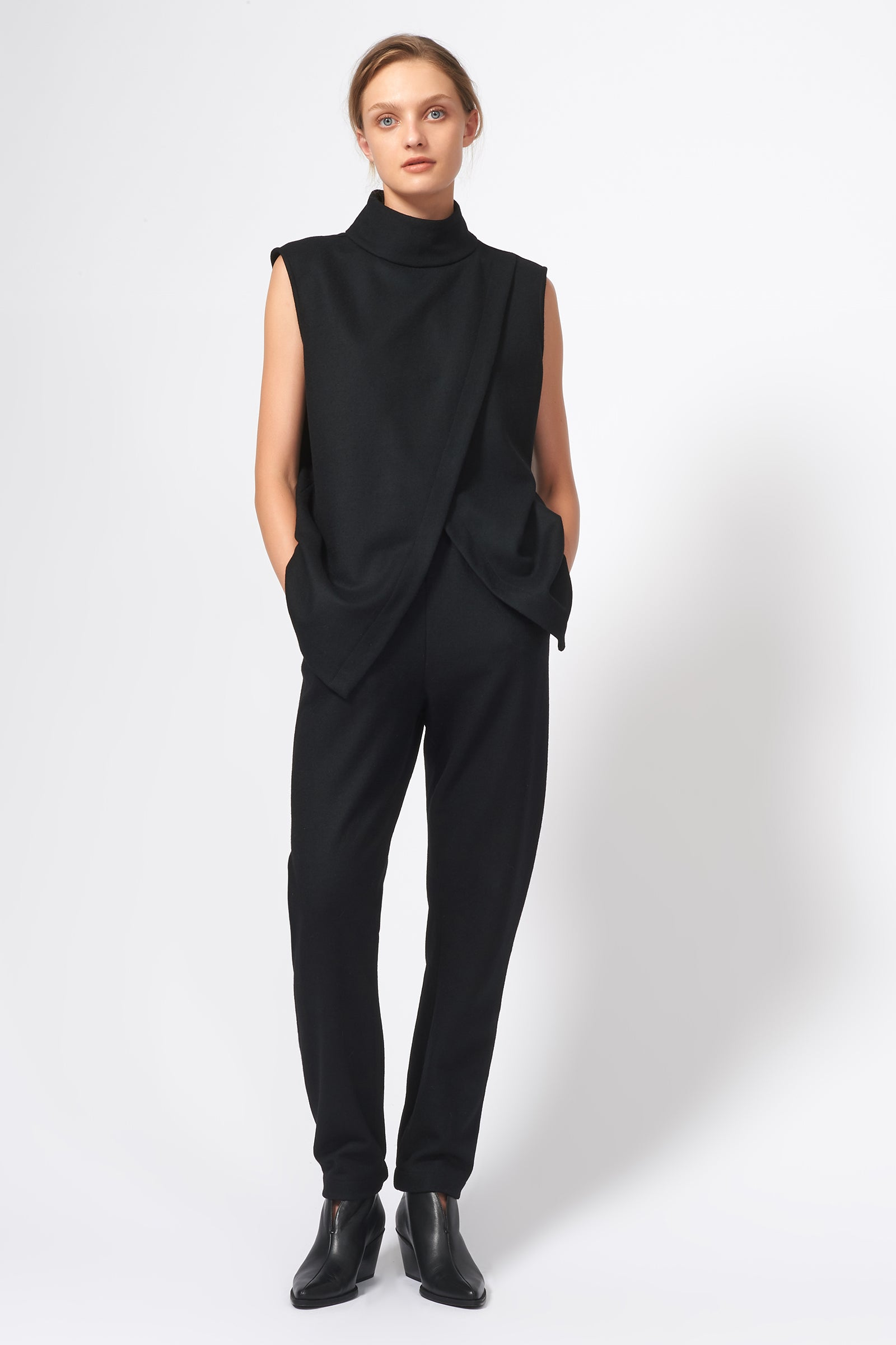 Kal Rieman Split Front T-Neck in Black on Model Full Front View