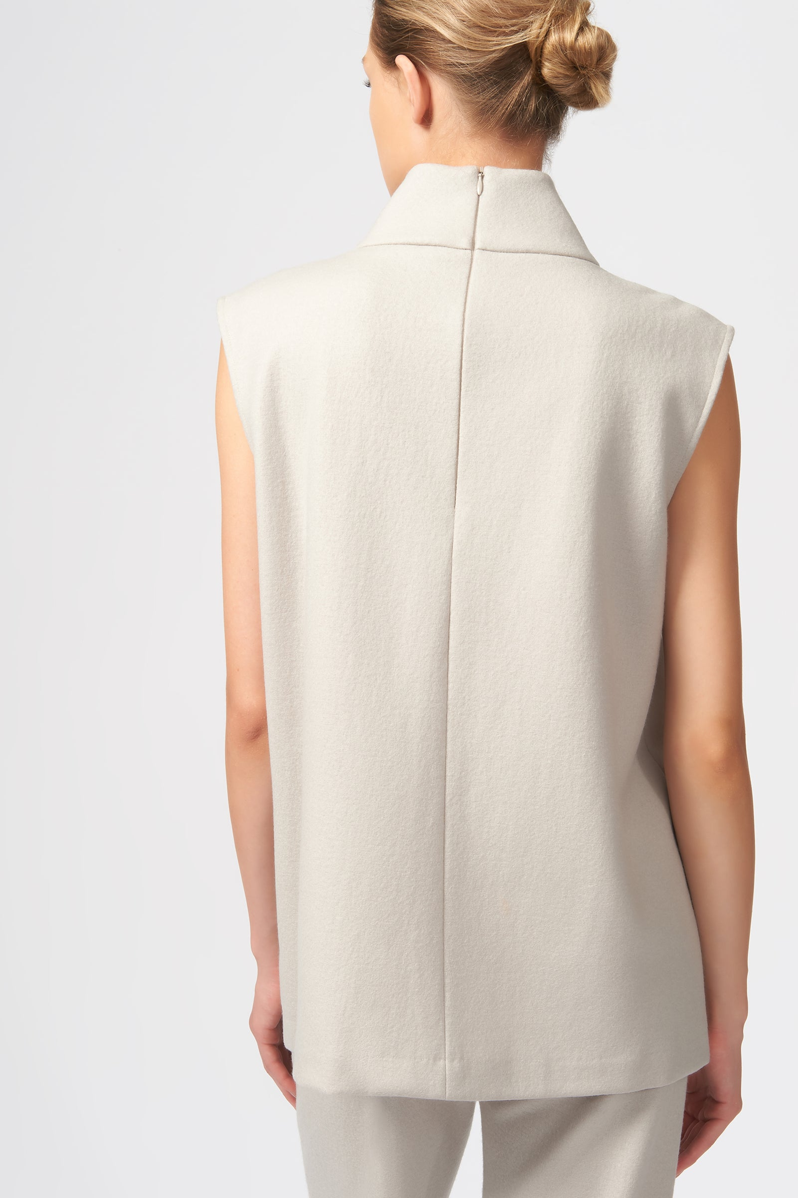 Kal Rieman Split Front T-Neck in Mink on Model Back View