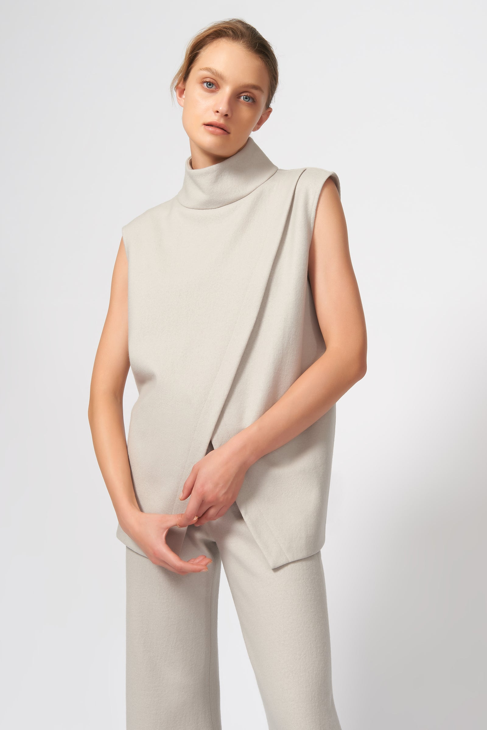 Kal Rieman Split Front T-Neck in Mink on Model Front View