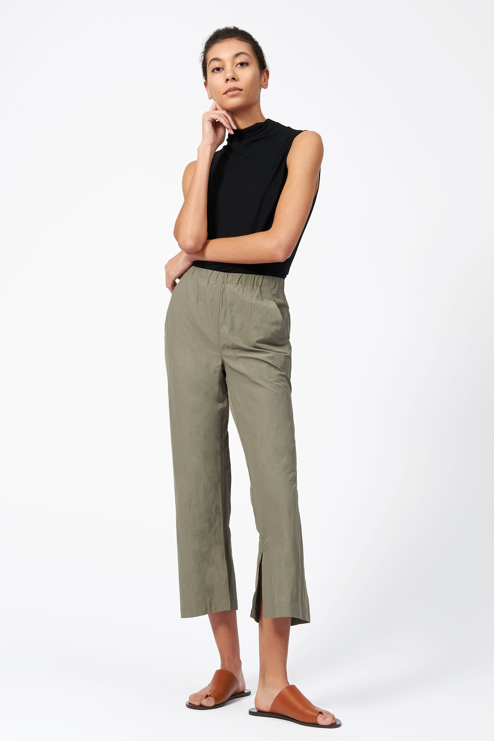 Kal Rieman Split Hem Capri in Olive on Model Full Front View