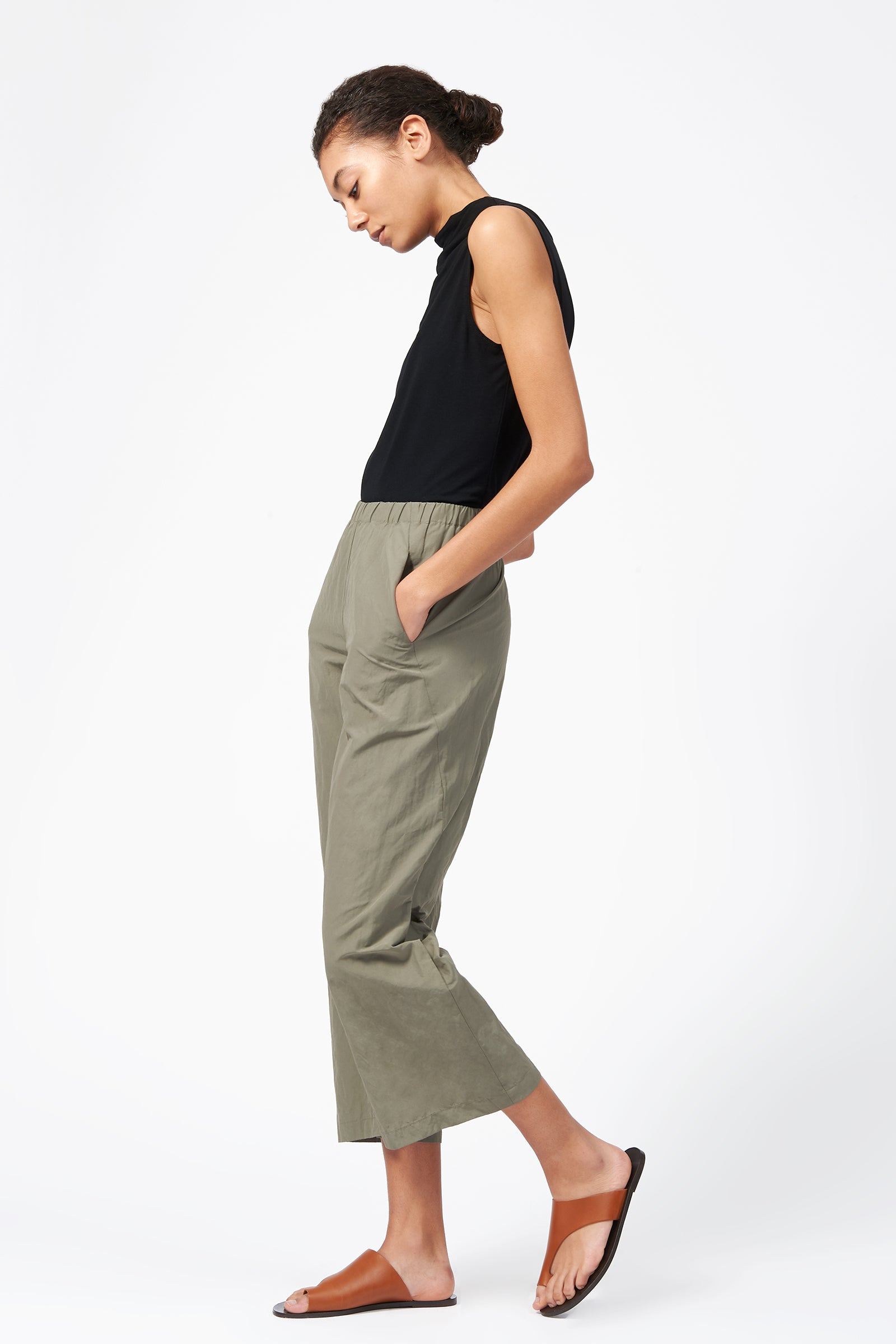 Kal Rieman Split Hem Capri in Olive on Model Full Side View