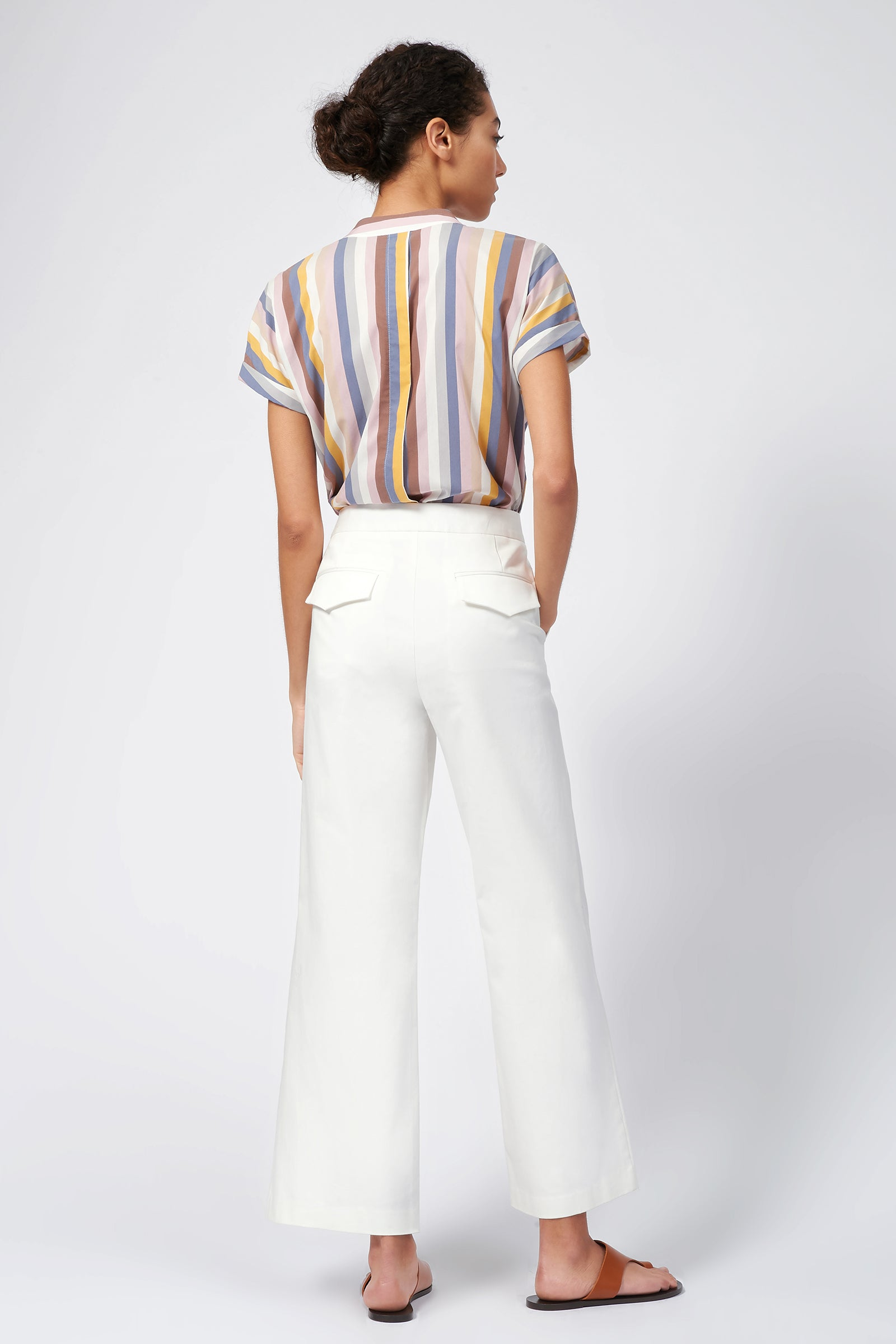Kal Rieman Flat Front Stretch Twill Pant in Off White on Model Full Front View