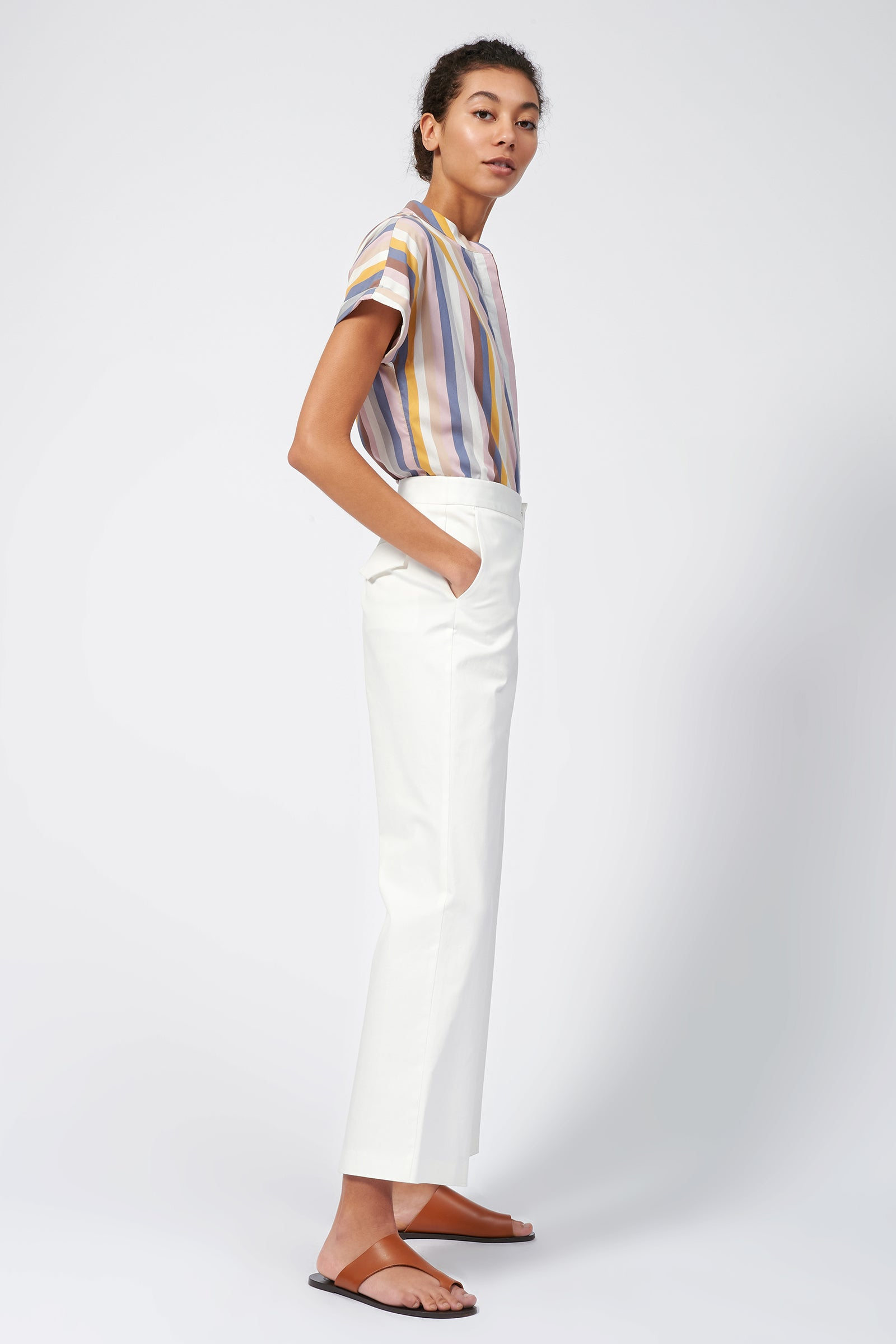 Kal Rieman Flat Front Stretch Twill Pant in Off White on Model Full Side View