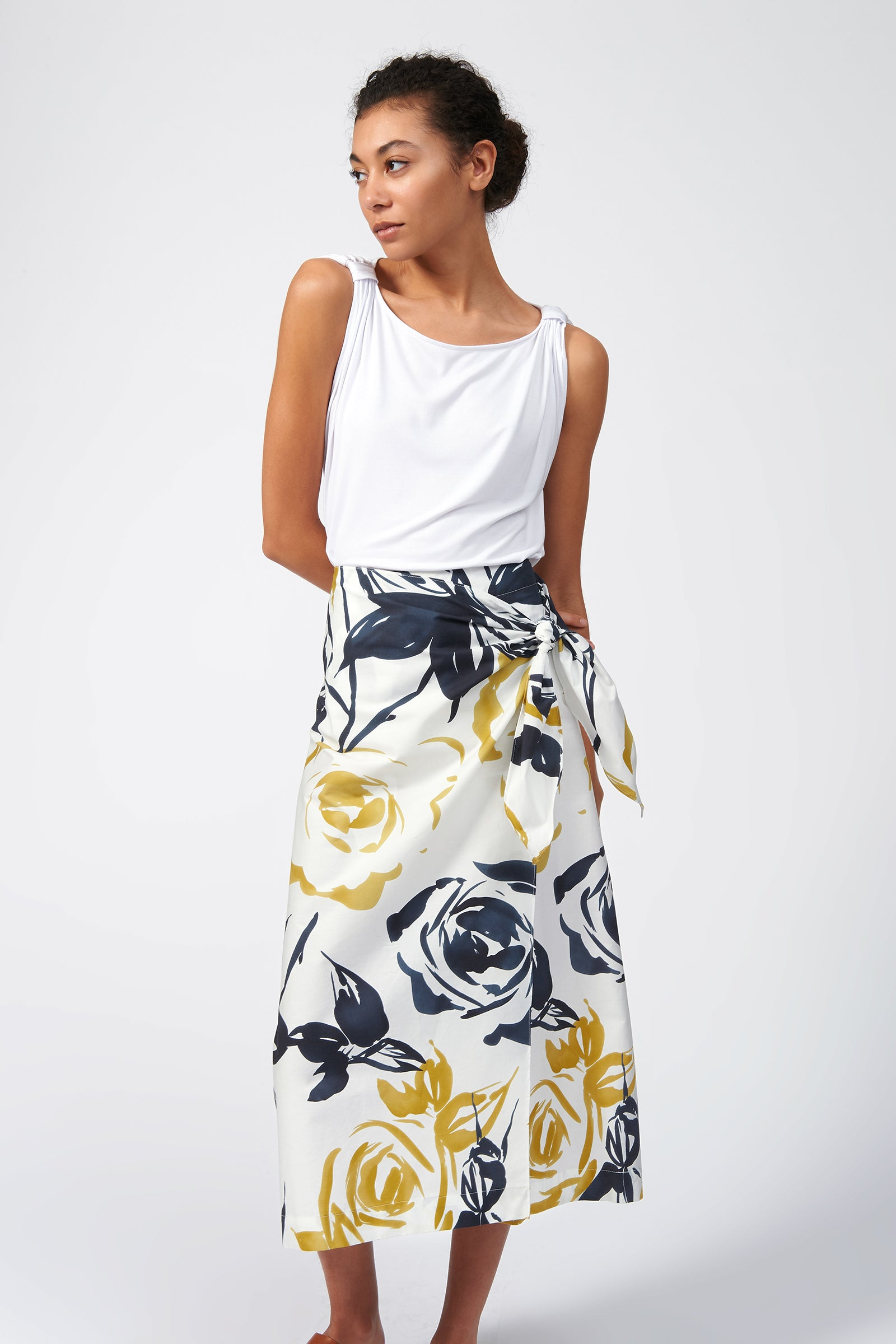 Kal Rieman Summer Wrap Skirt in Watercolor Floral on Model Full Front View
