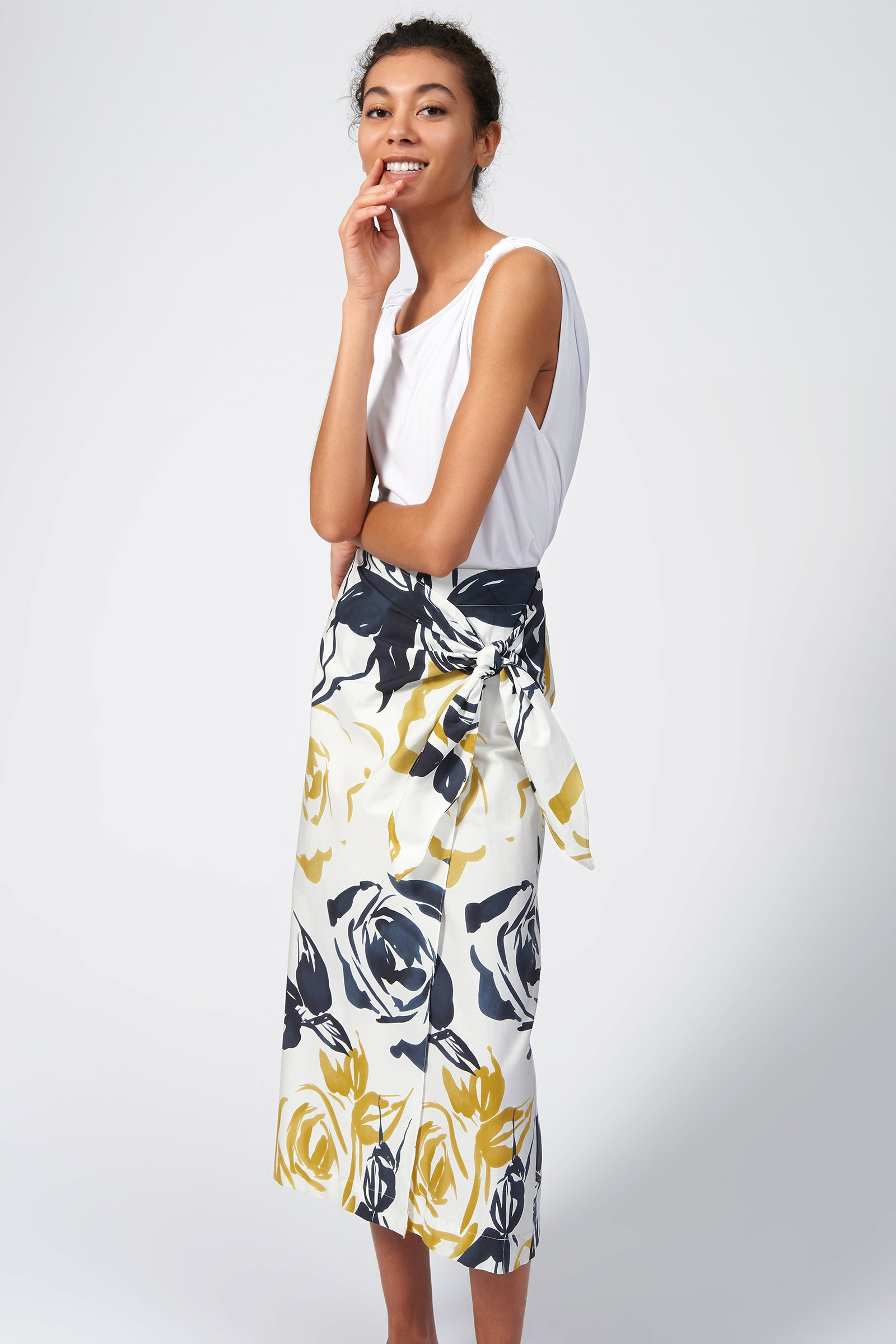 Kal Rieman Summer Wrap Skirt in Watercolor Floral on Model Full Front Side View