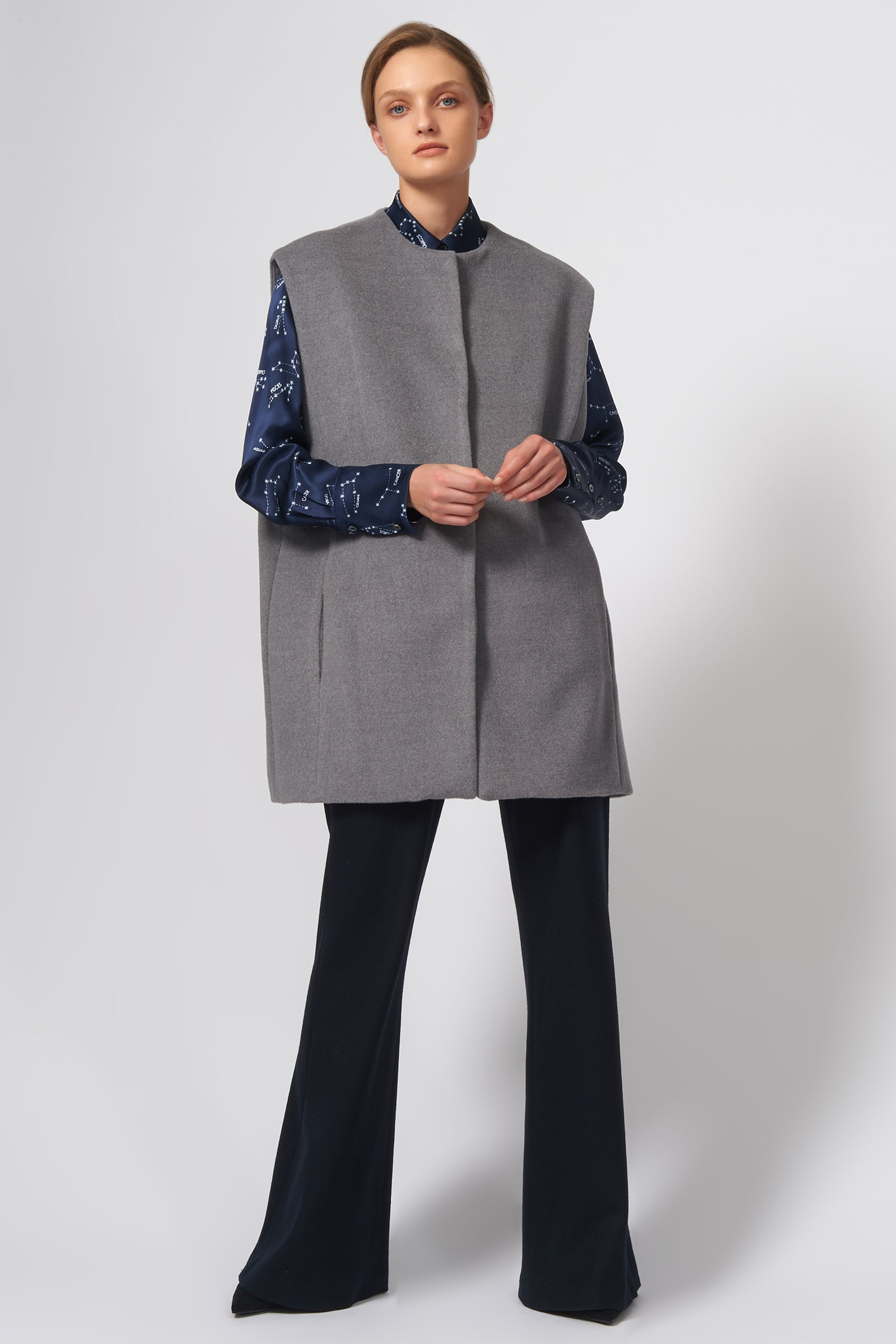 Kal Rieman Swing Vest in Grey Brushed Wool Coating on Model Front Full View