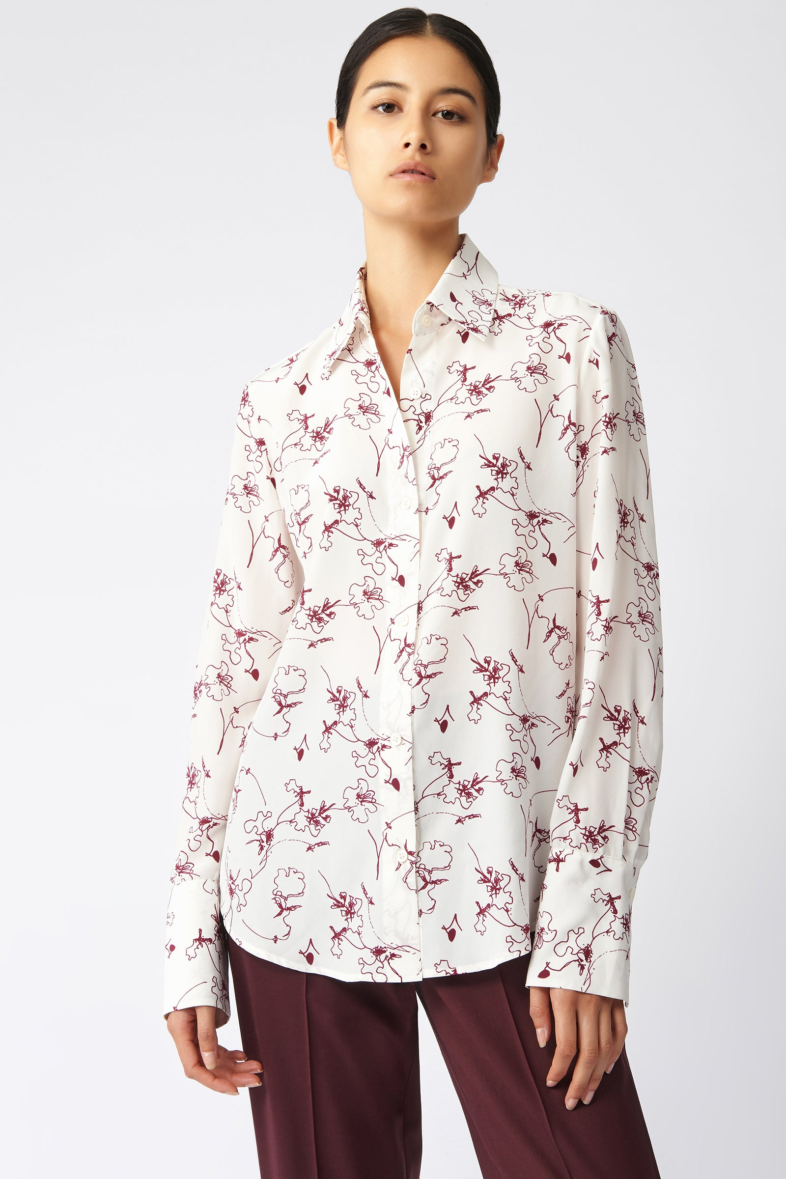 Kal Rieman Classic Tailored Blouse in Bordeaux Floral on Model Front View
