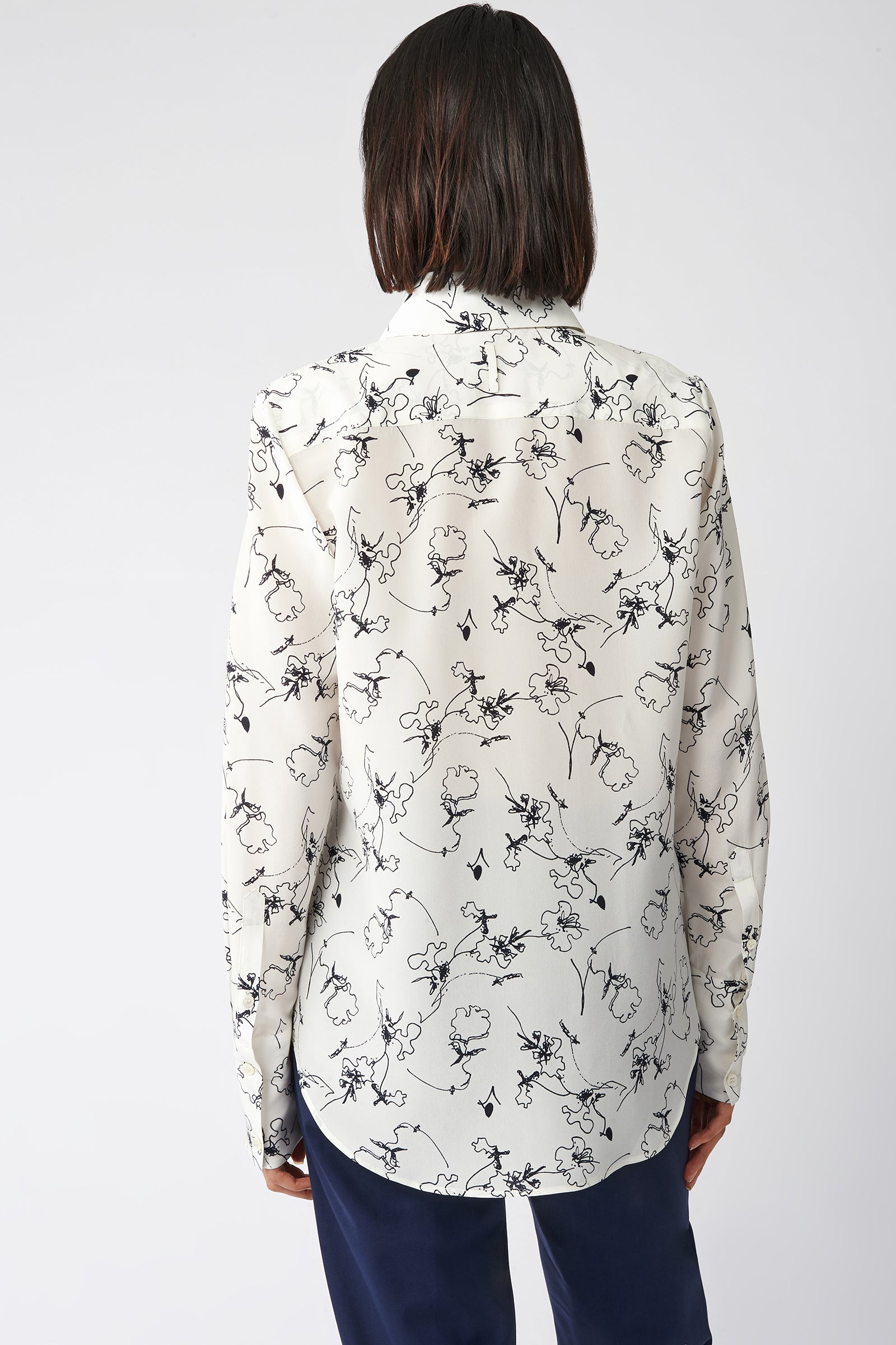 Kal Rieman Classic Tailored Blouse in Navy Floral on Model Back View