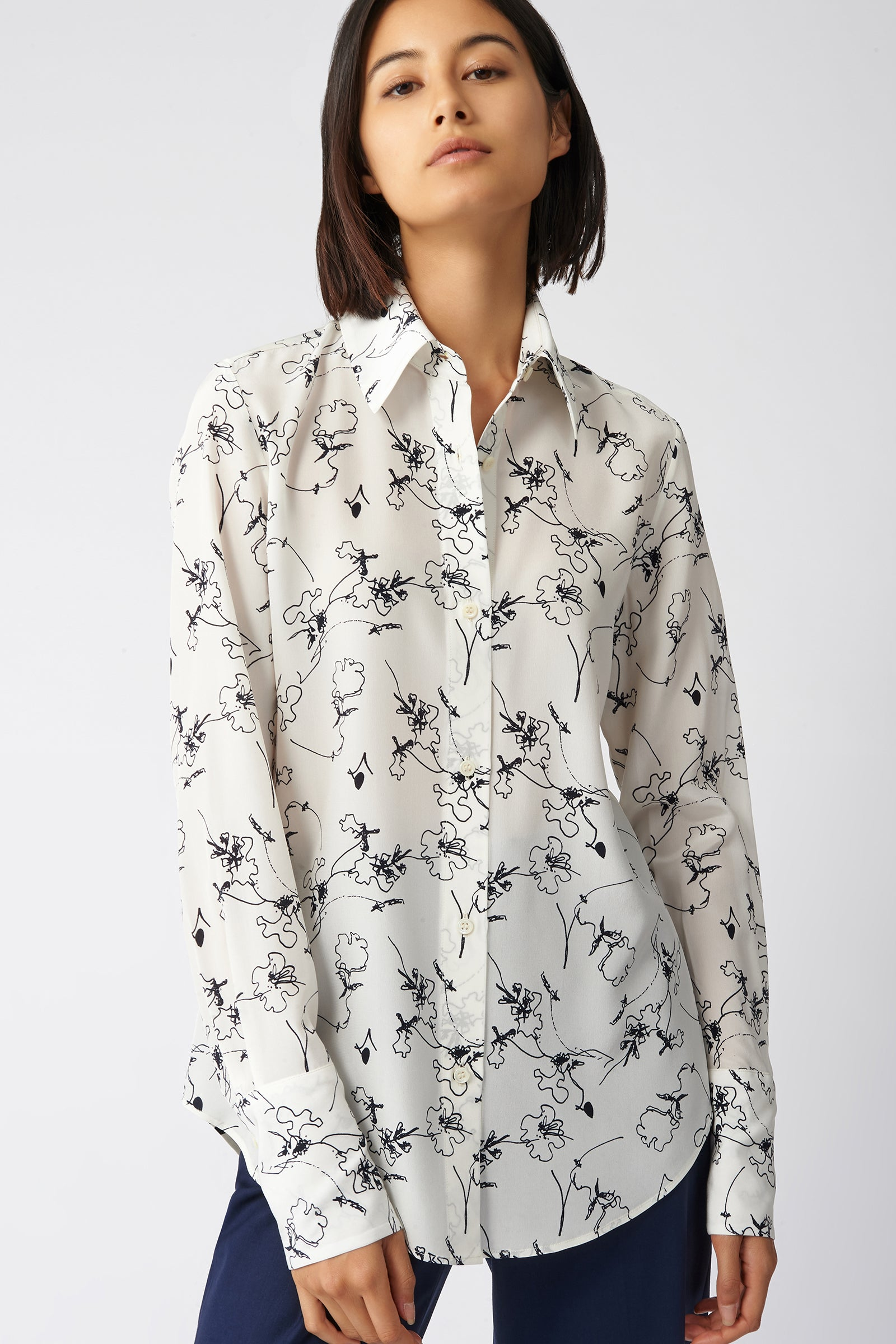 Kal Rieman Classic Tailored Blouse in Navy Floral on Model Front View
