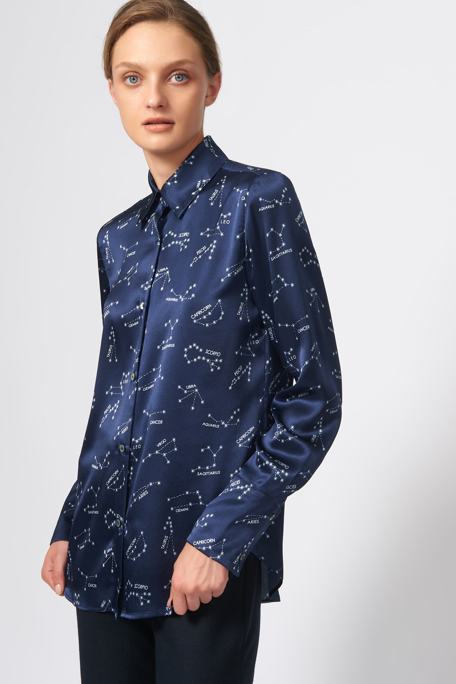 Kal Rieman Classic Tailored Blouse in Navy Horoscope Print on Model Front View