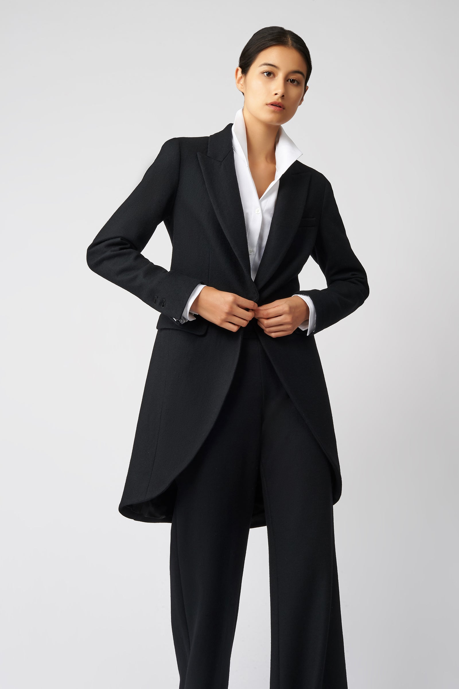 Kal Rieman Tailored Tux Blazer in Black on Model Front View