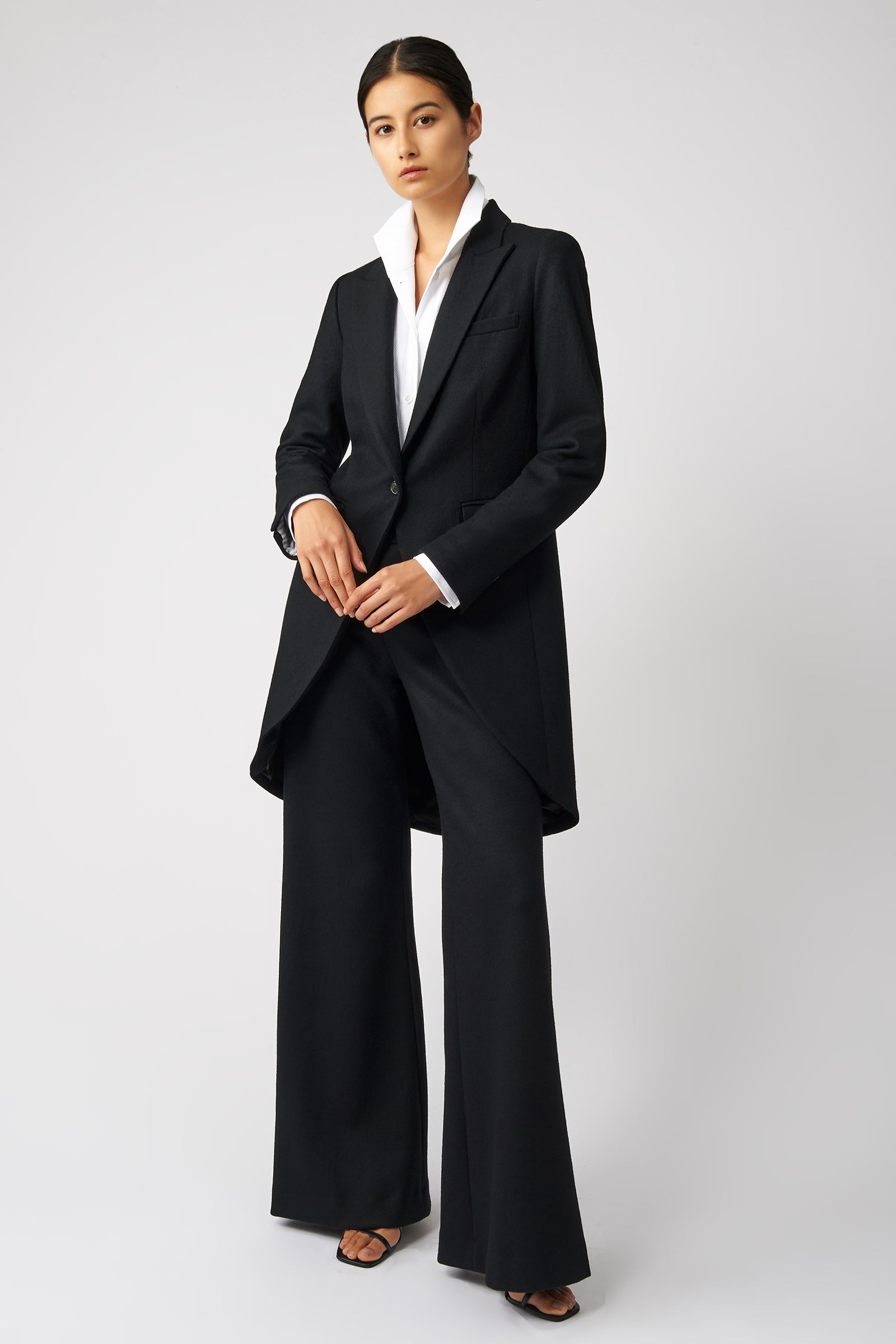Kal Rieman Tailored Tux Blazer in Black on Model Full Front View