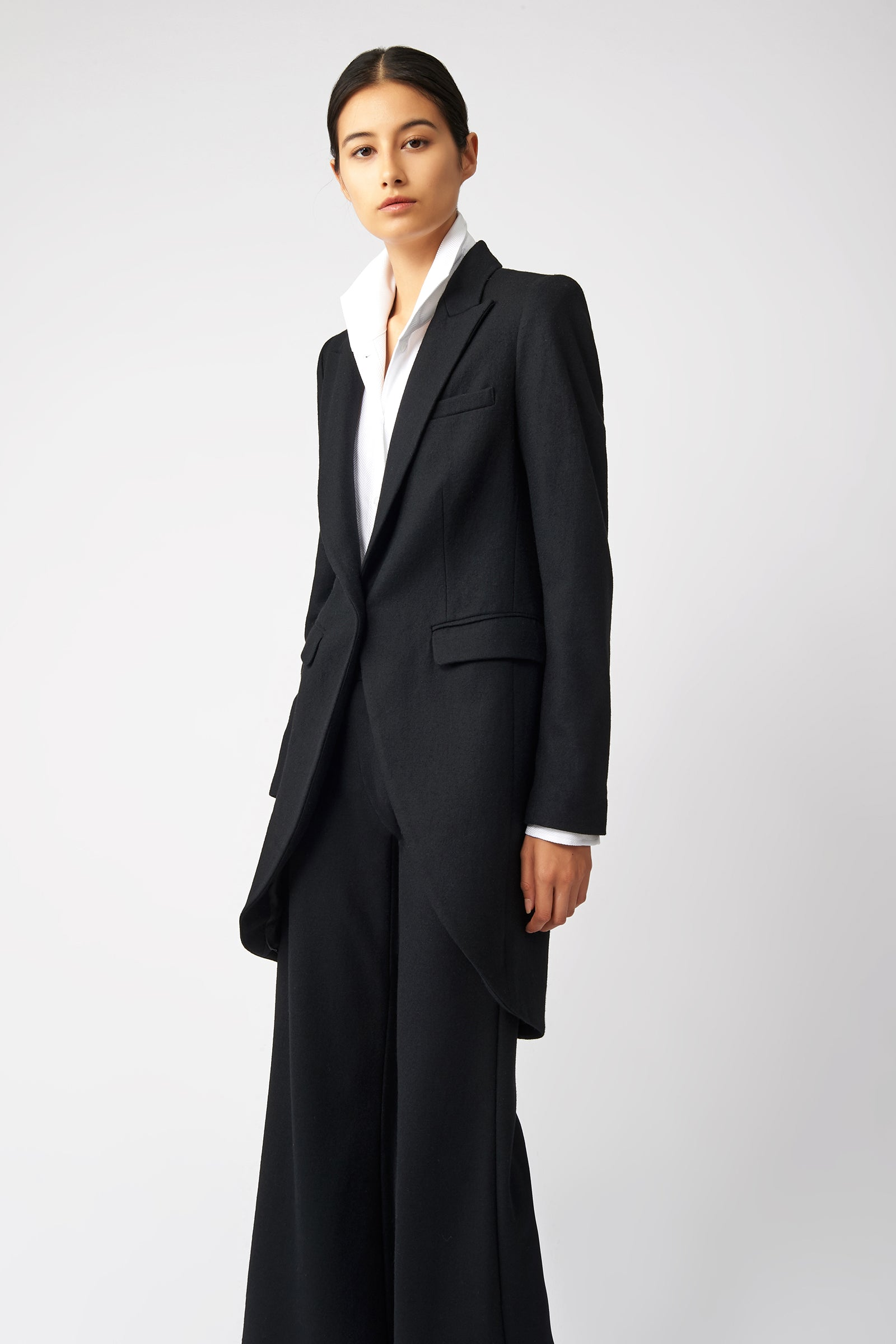 Kal Rieman Tailored Tux Blazer in Black on Model Side View